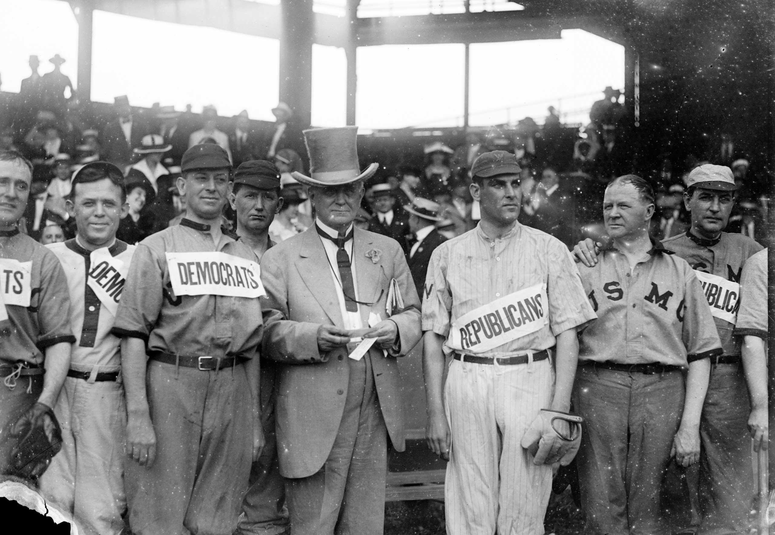 Washington Stadium hosts a baseball game between Republicans & Democrats, circa the 1900s.