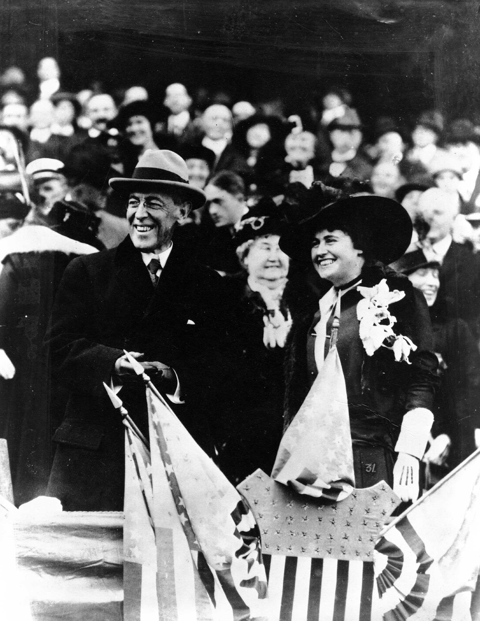 Woodrow Wilson, the 28th President of the United States, with his second wife Edith Galt at the Congressional baseball game in Sept. 1918.