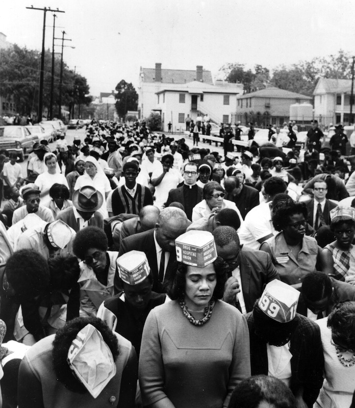 Coretta Scott King (1927 - 2006), center,marches with hospital workers, striking for the right to unionize and bargain with management, Charleston, SC, 1969.