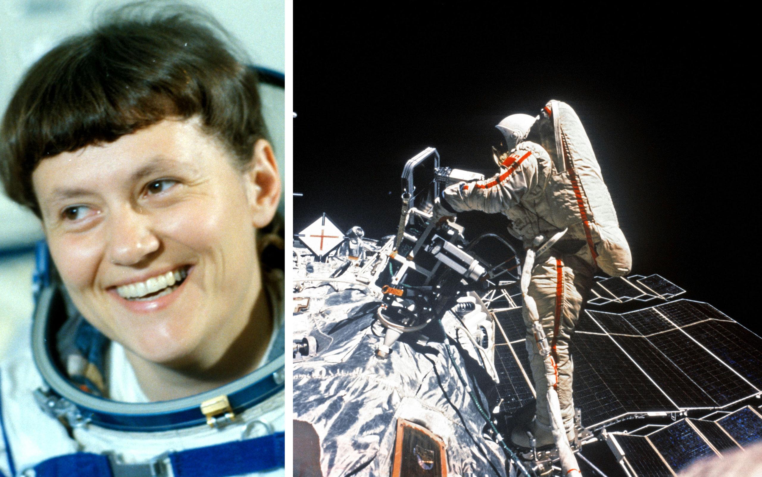 Soviet cosmonaut svetlana savitskaya, the first woman to walk in space during the soyuz t-12 space mission to the salyut 7 space station in august 1984, photo was taken by cosmonaut vladimir dzhanibekov.