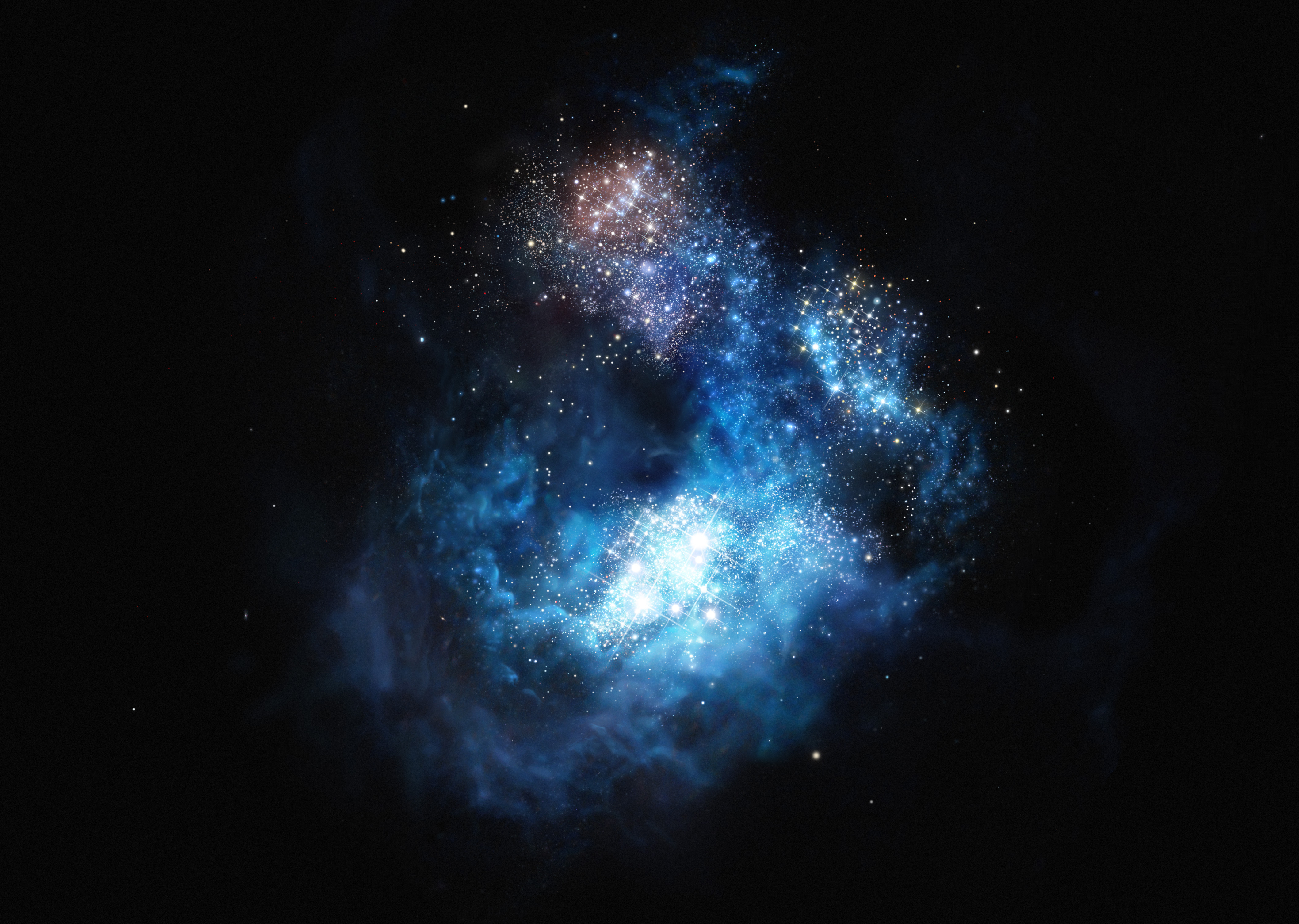 This artist's impression shows CR7 a very distant galaxy discovered using ESO's Very Large Telescope.