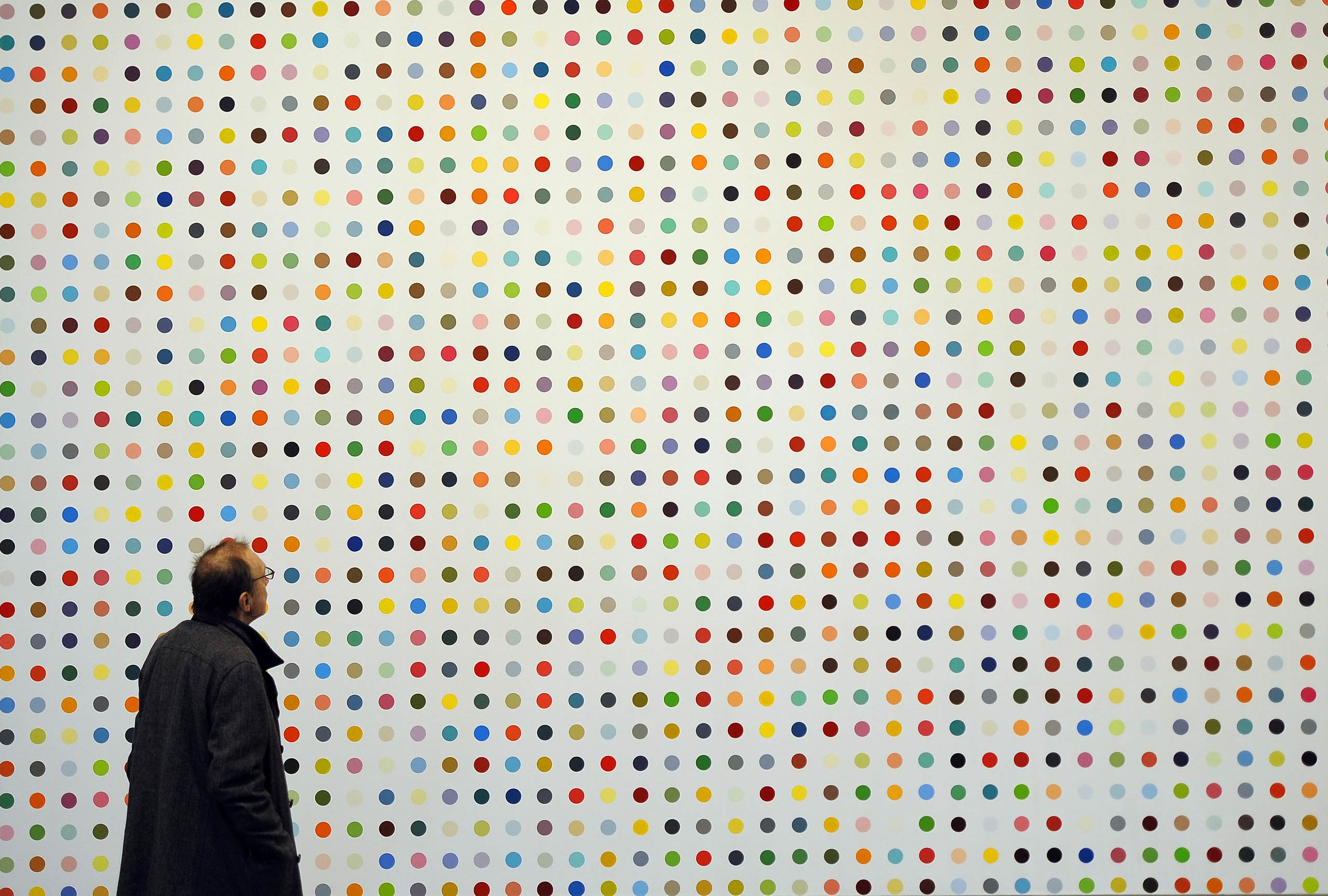 Hirst's iconic  Spot Paintings  are mostly executed by his assistants. This one,  Urea-13C  (2001-2006), shares a name with a breath test for H. pylori.