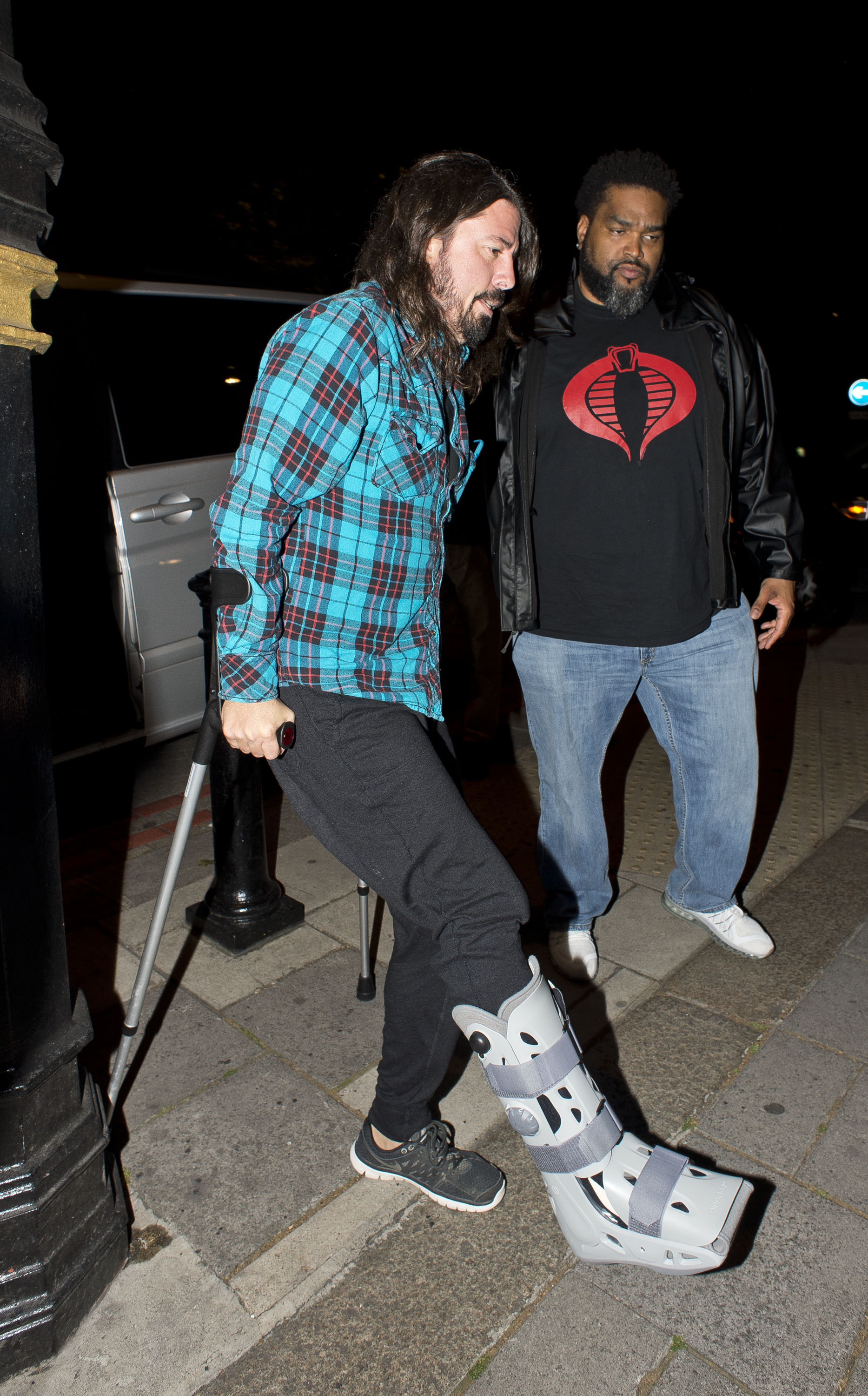 Dave Grohl is seen at his hotel on June 14, 2015 in London.