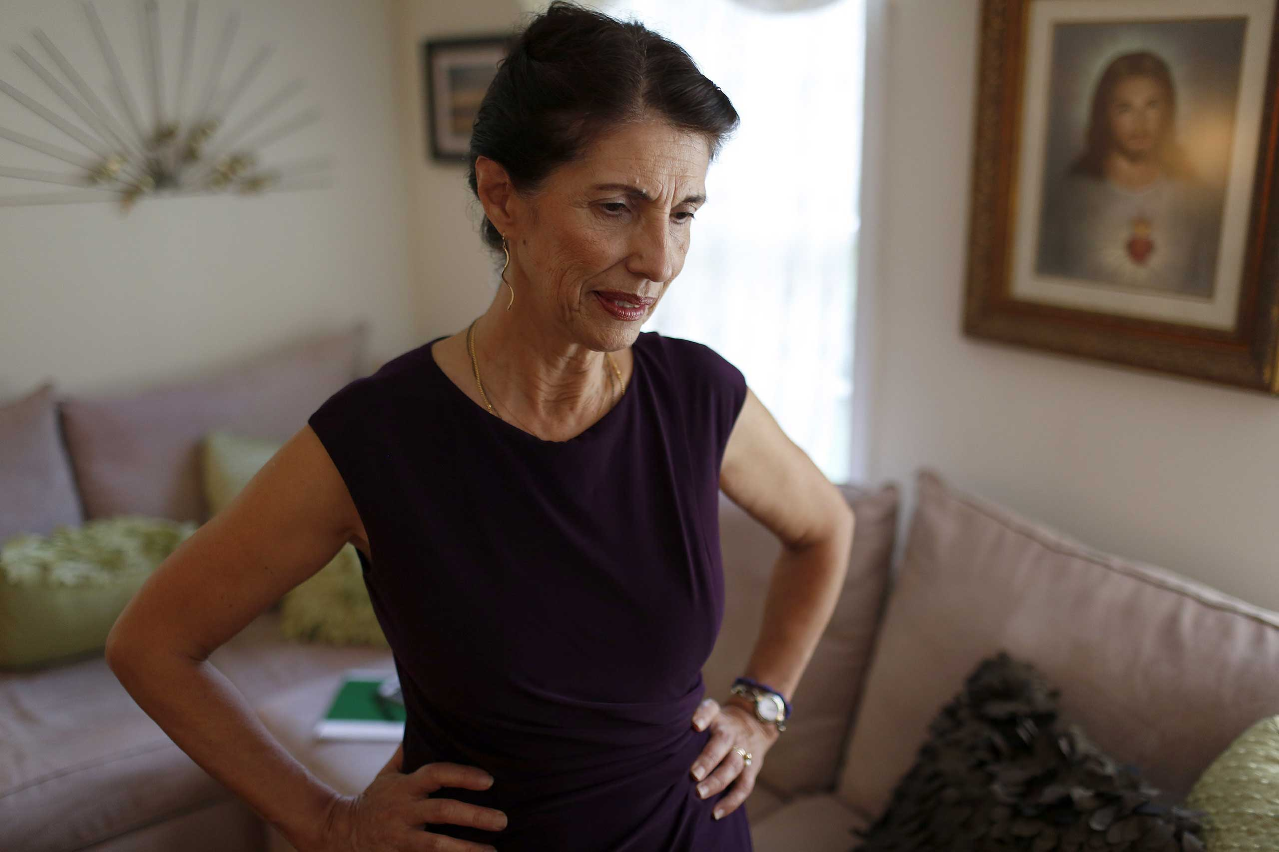 Diane Foley, mother of James Foley, pauses for a moment during an interview at her home in Rochester, N.H. in 2014.