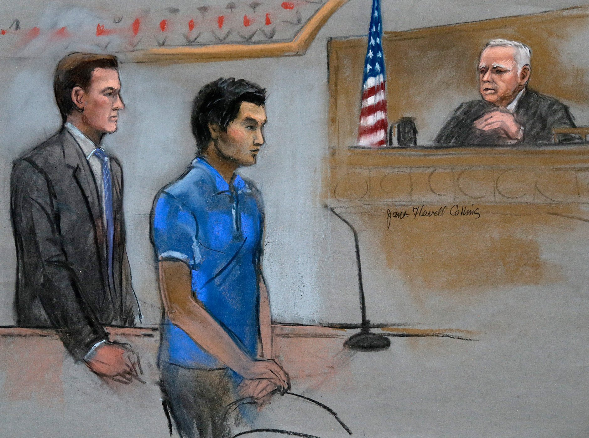 Dias Kadyrbayev, center, a college friend of Boston Marathon bombing suspect Dzhokhar Tsarnaev, is depicted in federal court in Boston on Aug. 21, 2014.