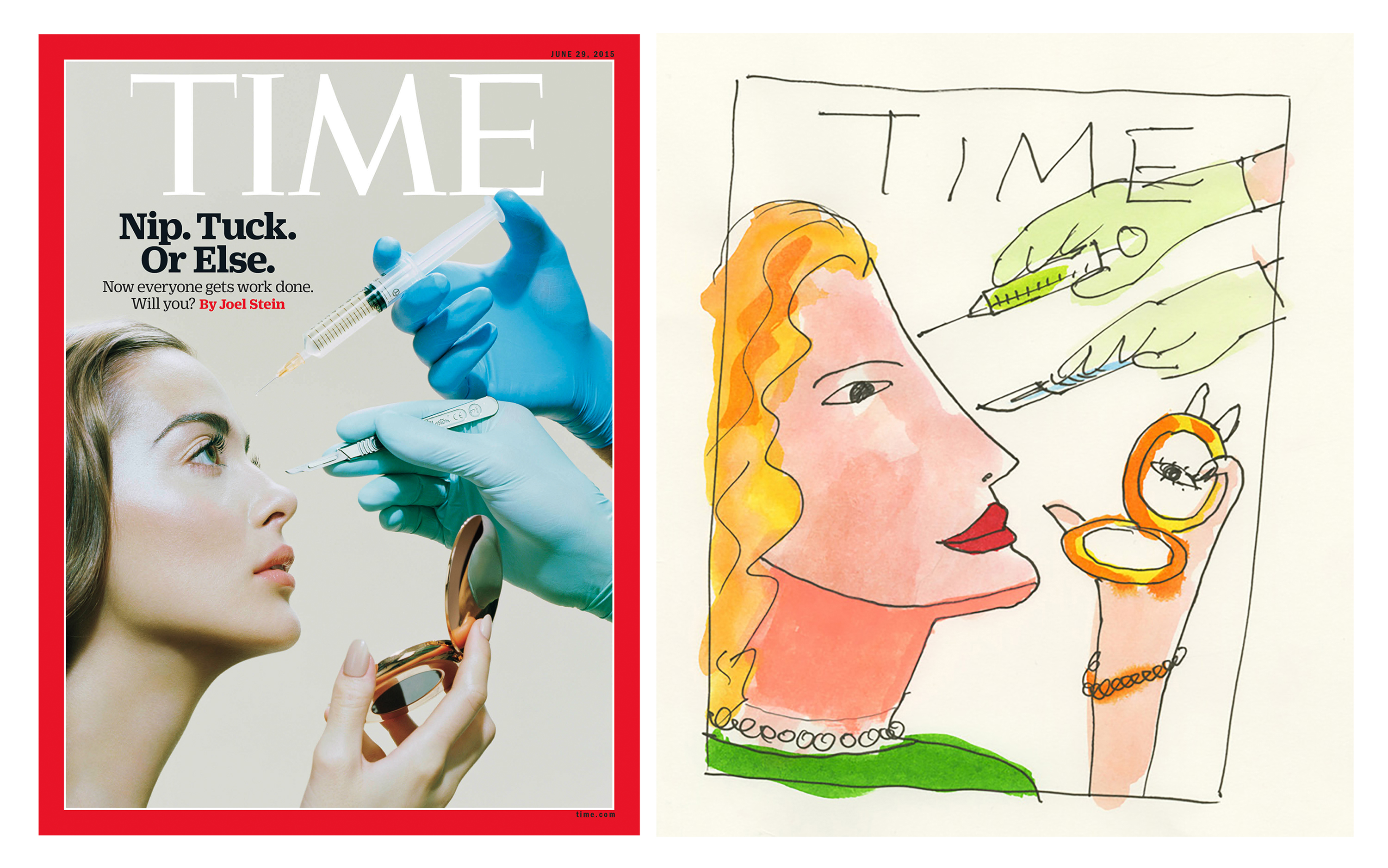 Miles Aldridge cover and sketch for TIME
