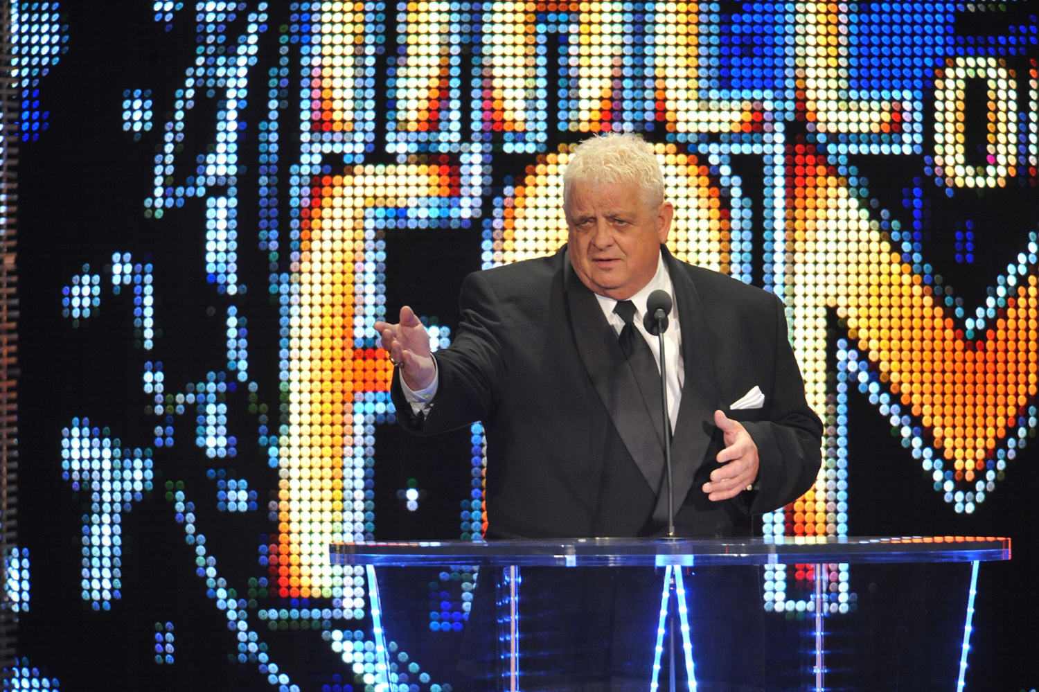 Dusty Rhodes attends the 2011 WWE Hall of Fame induction ceremony at the Philips Arena in Atlanta on April 3, 2011