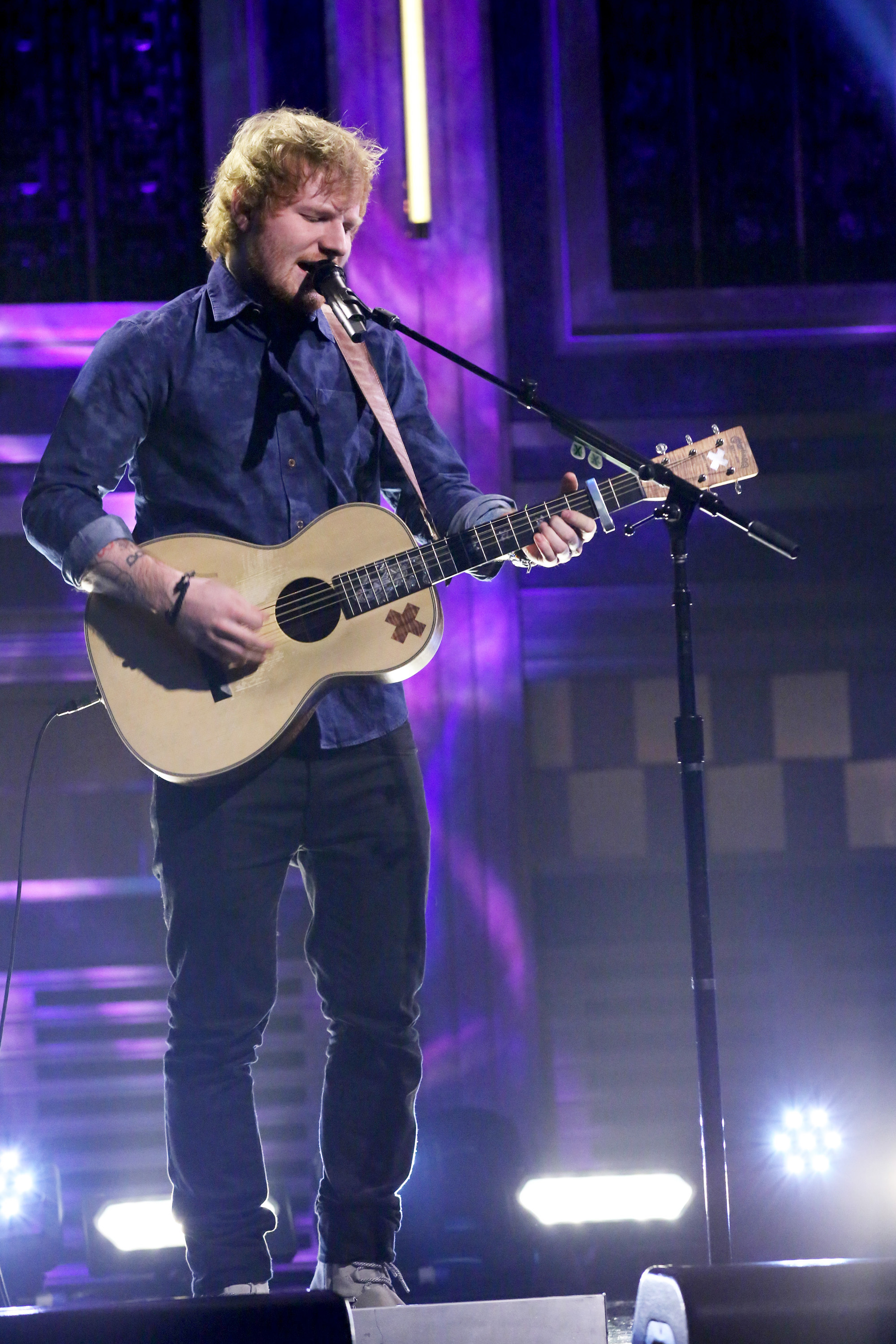 Tonight Show with Jimmy Fallon musical guest Ed Sheeran performs on June 1, 2015.