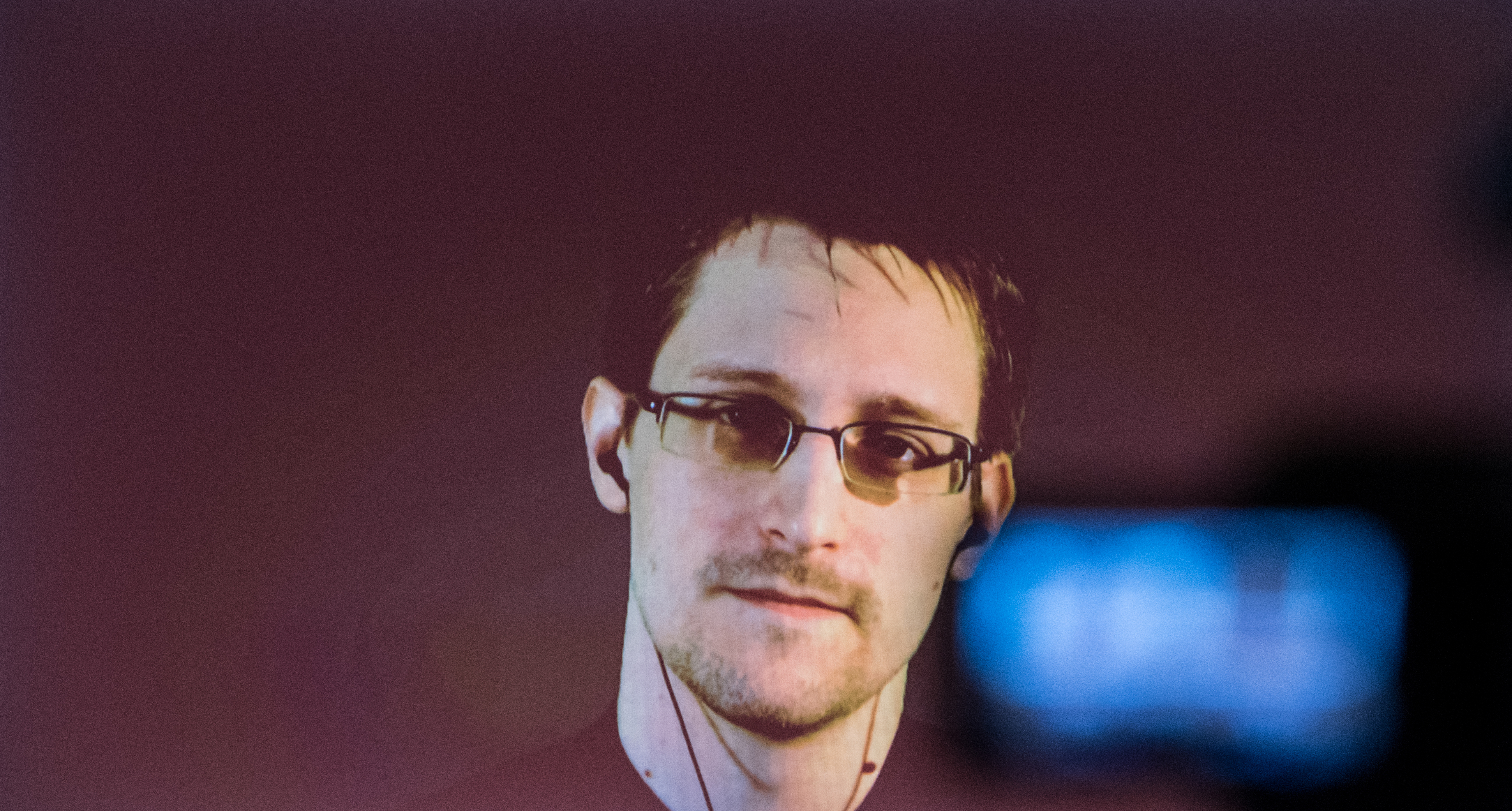 US whistleblower Edward Snowden speaks during a live broadcast at the CeBITin Hanover, Germany, on March 18, 2015.