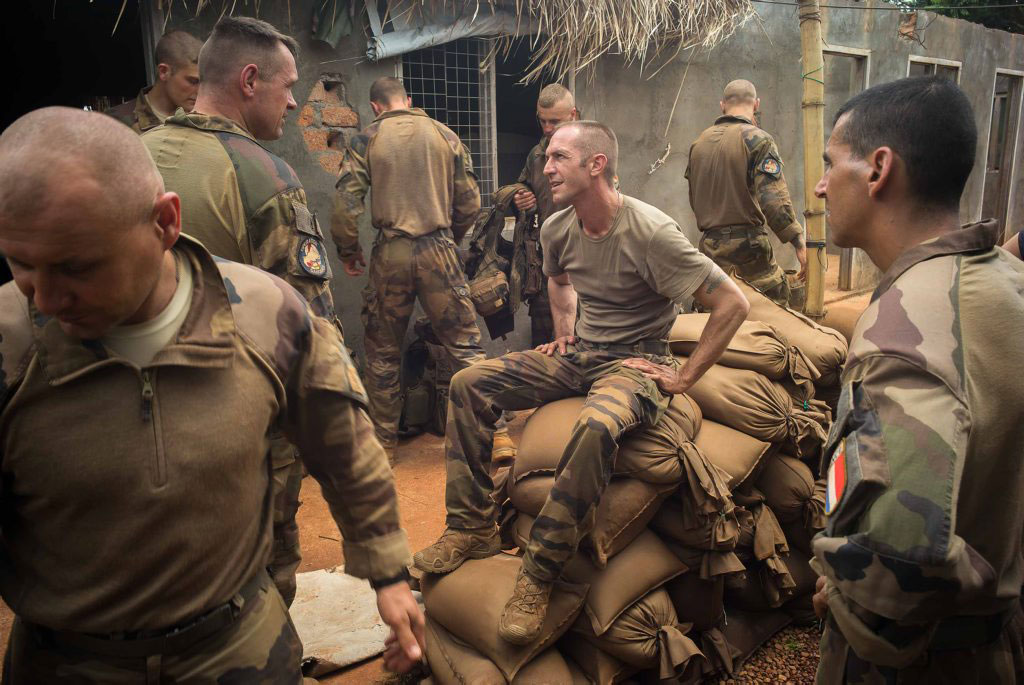 French Foreign Legion soldiers wait in the camp of Bria in Central African Republic on Aug. 23, 2014.