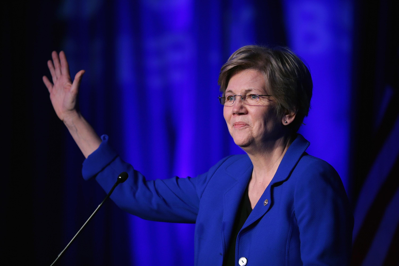 Sen. Elizabeth Warren (D-MA) delivers remarks during the Good Jobs Green Jobs National Conference at the Washington Hilton April 13, 2015 in Washington, DC.