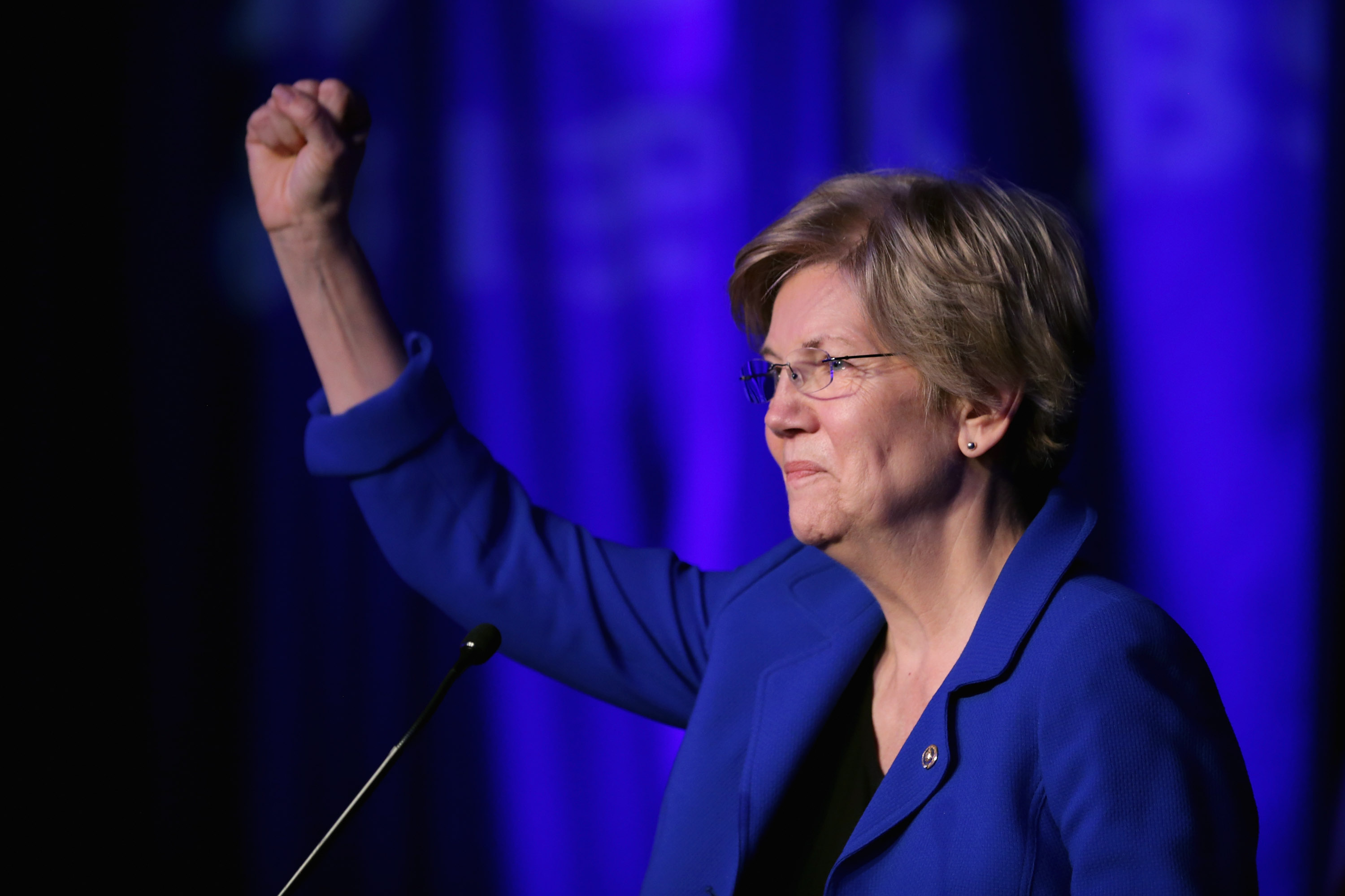 Sen. Elizabeth Warren (D-MA) delivers remarks during the Good Jobs Green Jobs National Conference on April 13, 2015 in Washington, DC.