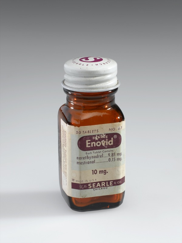 Bottle of Enovid tabs 10mg, early 1960s.