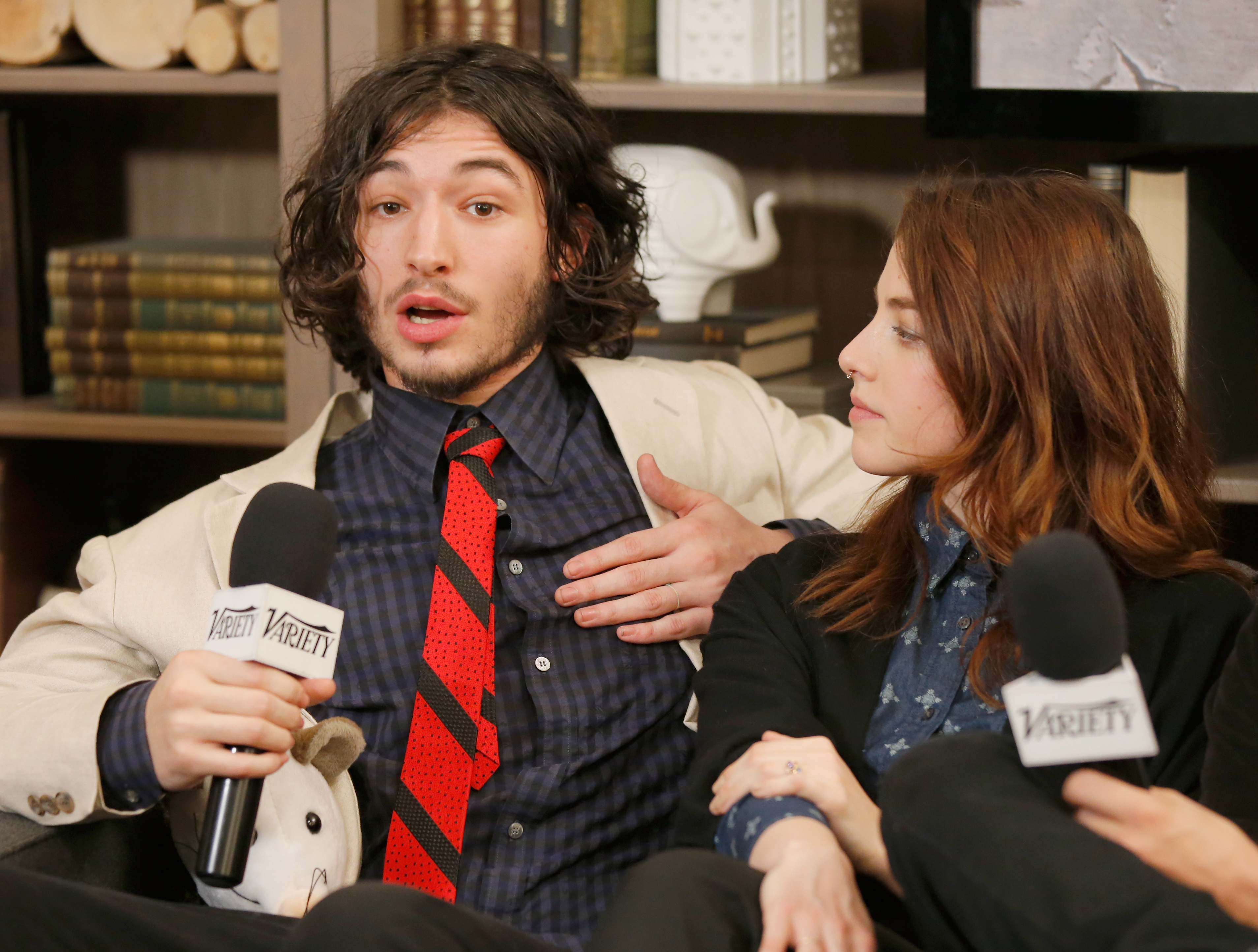 Ezra Miller and Olivia Thirlby at the Sundance Film Festival in 2015.