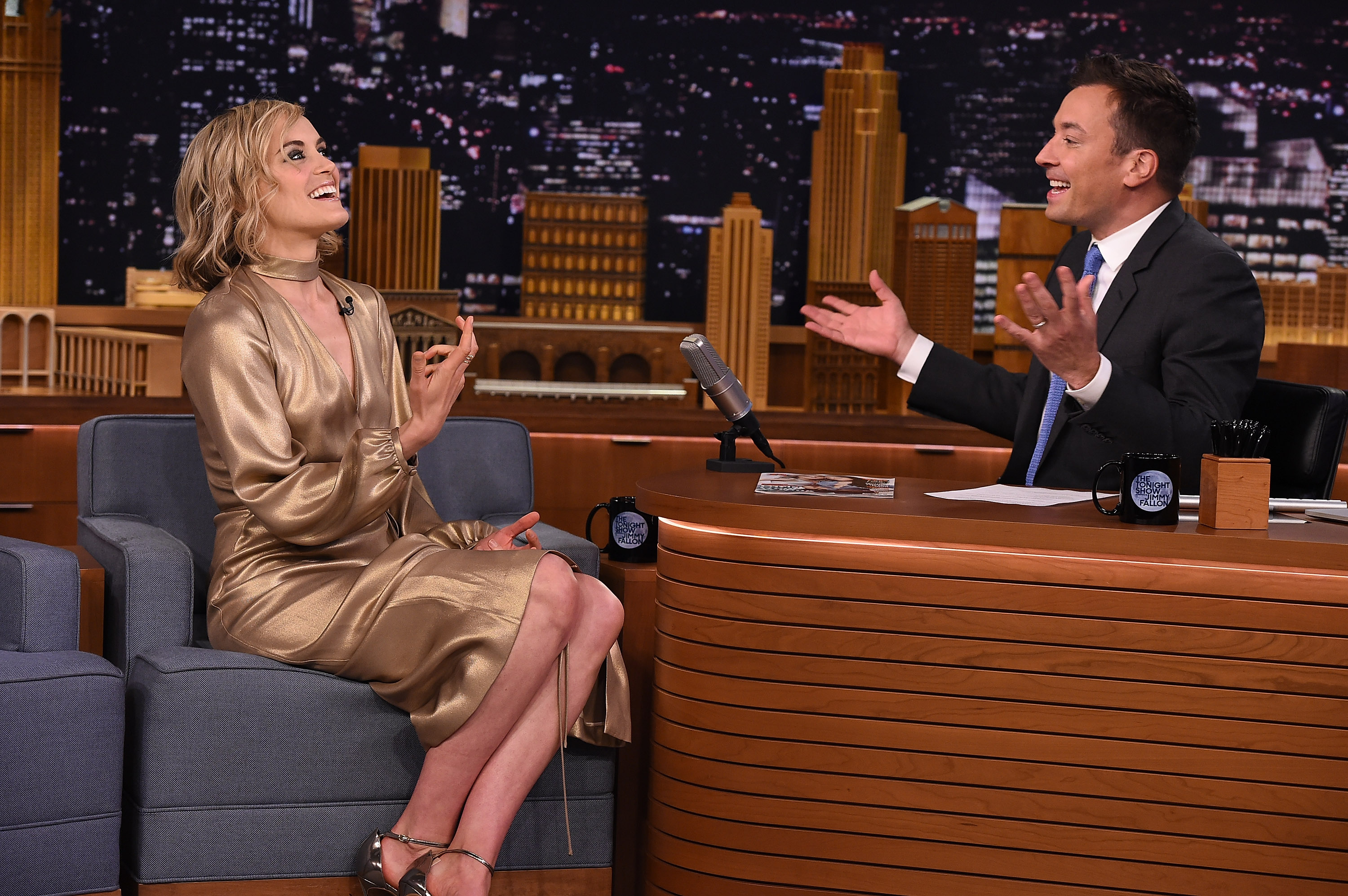 Taylor Schilling visits  The Tonight Show Starring Jimmy Fallon  at Rockefeller Center on June 15, 2015 in New York City.