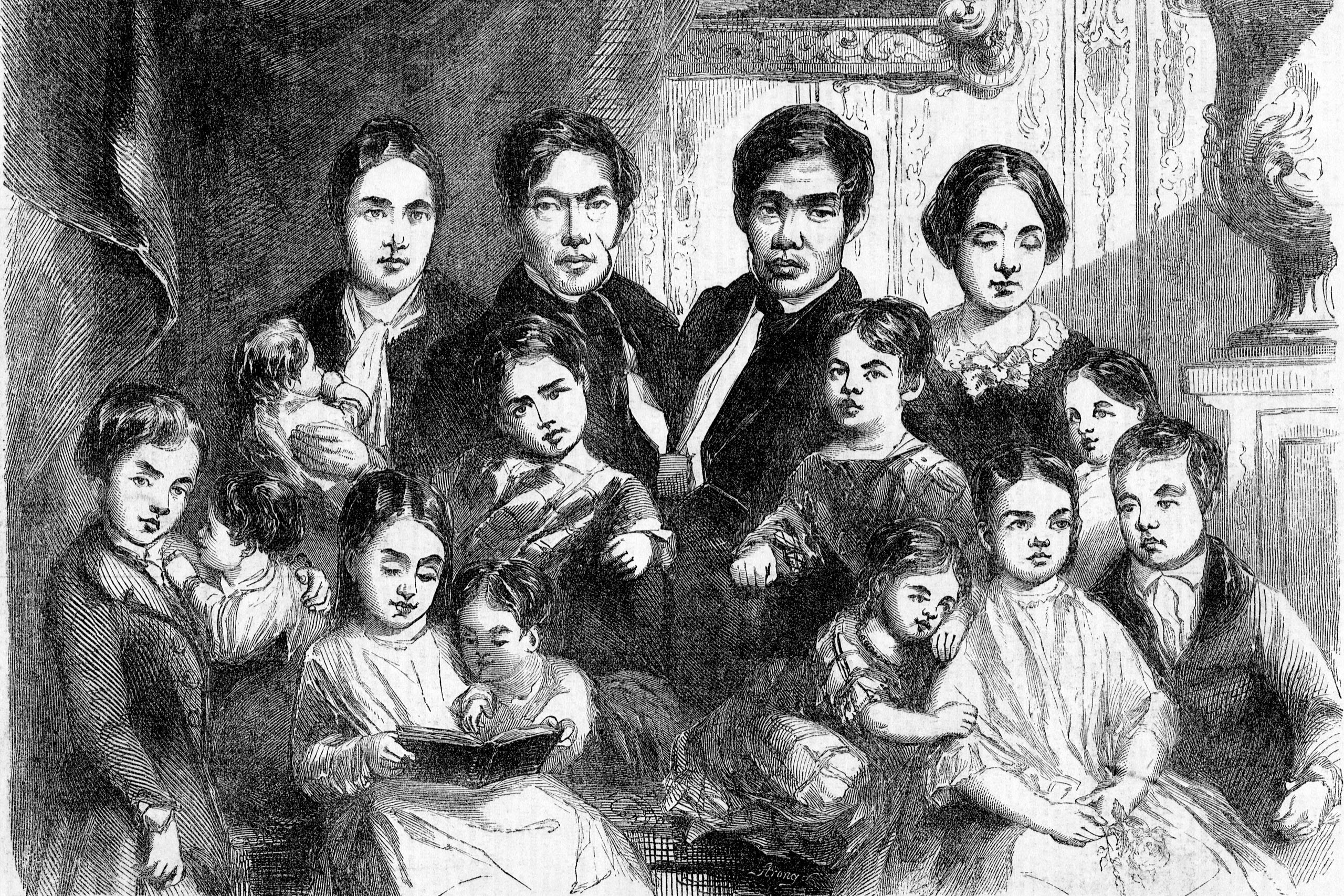 Chang and Eng With Their Families