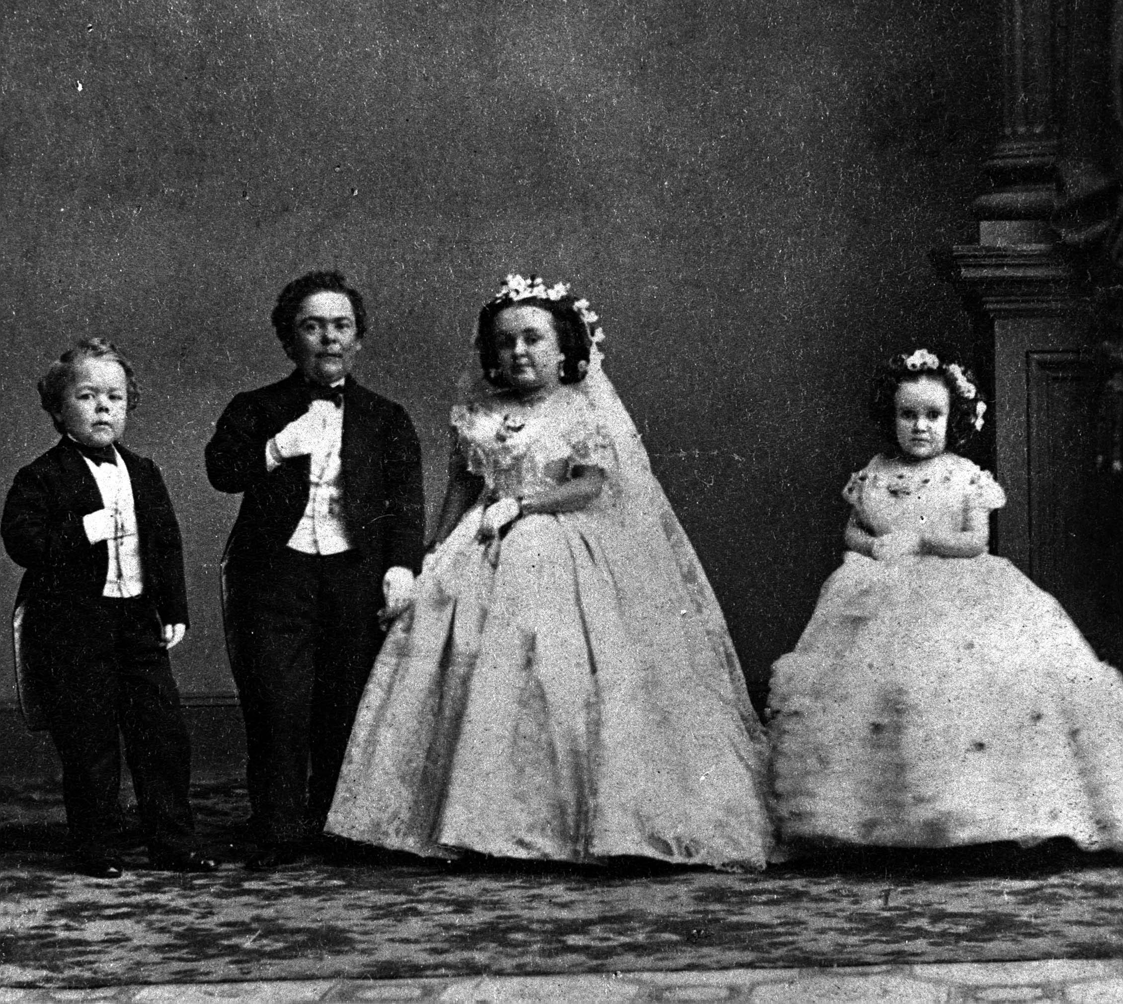 General Tom Thumb alias, Charles Sherwood Stratton, US midget showman,and his wife in 1869.