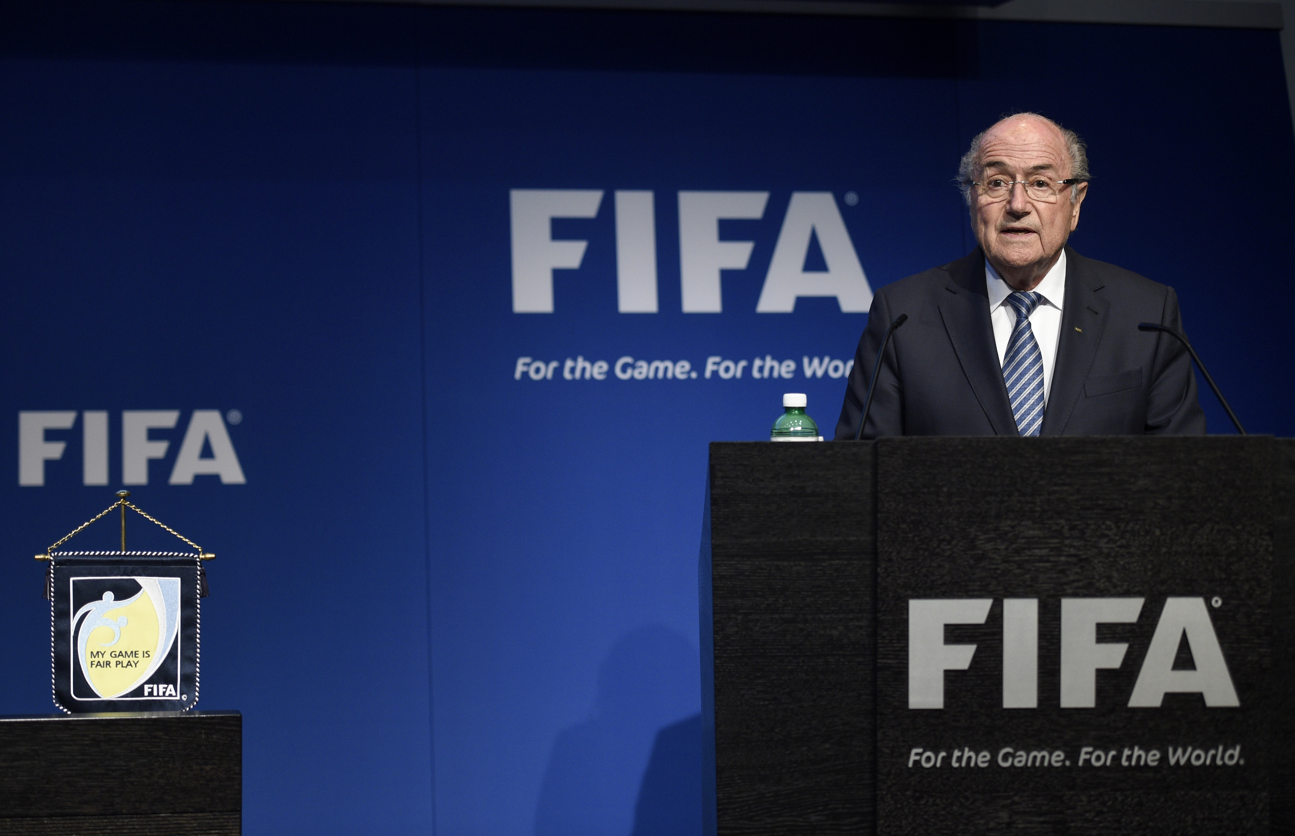 FIFA President Joseph Blatter speaks at a press conference in which he announced that he will resign the office, June 2, 2015 in Zurich.