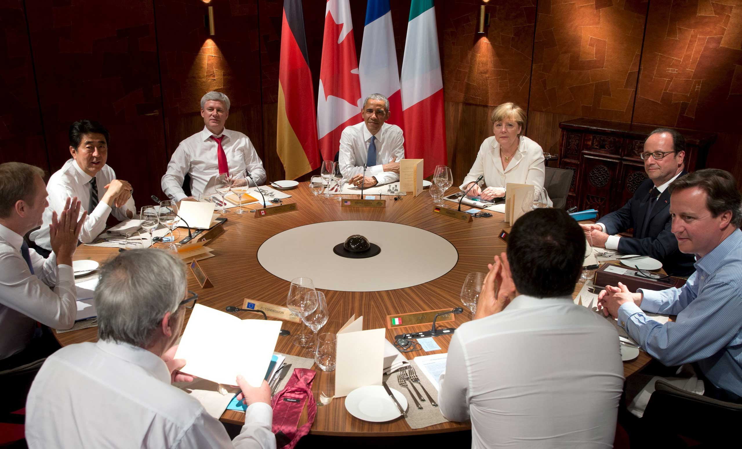 Leaders from the Group of Seven (G7) industrial nations hold a working dinner in the Bavarian village of Kruen, Germany, on June 7, 2015.