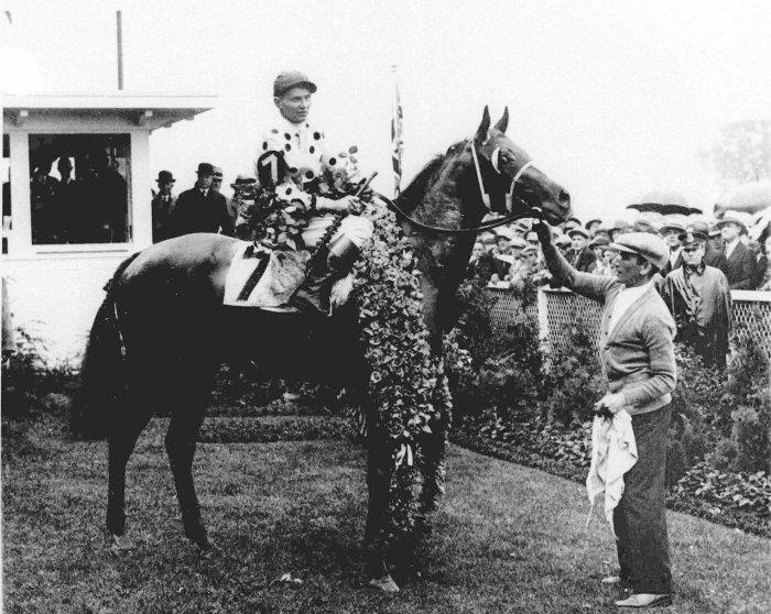 1930: Gallant Fox, with jockey Earl Sande