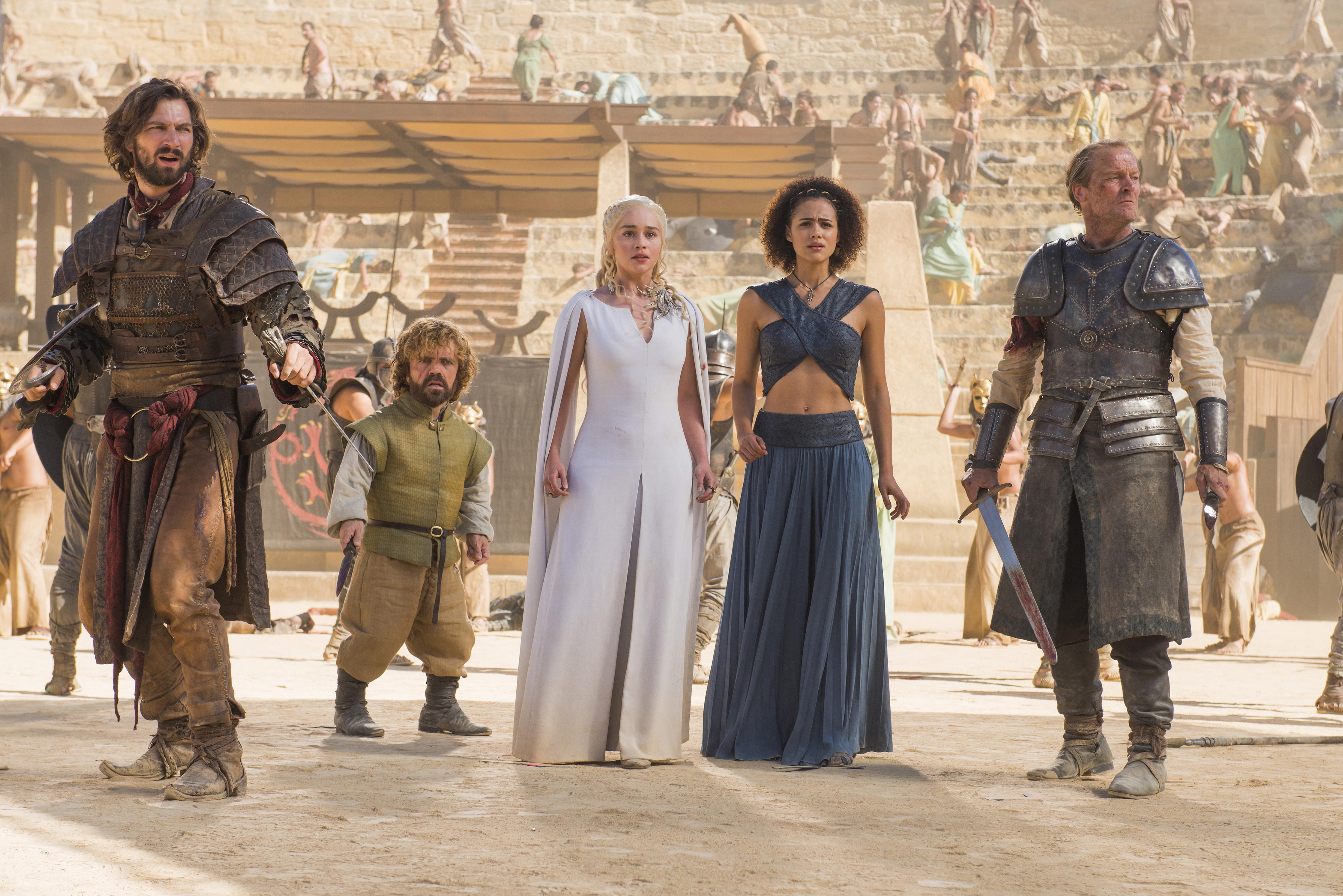 Michiel Huisman, Peter Dinklage, Emilia Clarke, Nathalie Emmanuel and Iain Glen in 'Game of Thrones'
