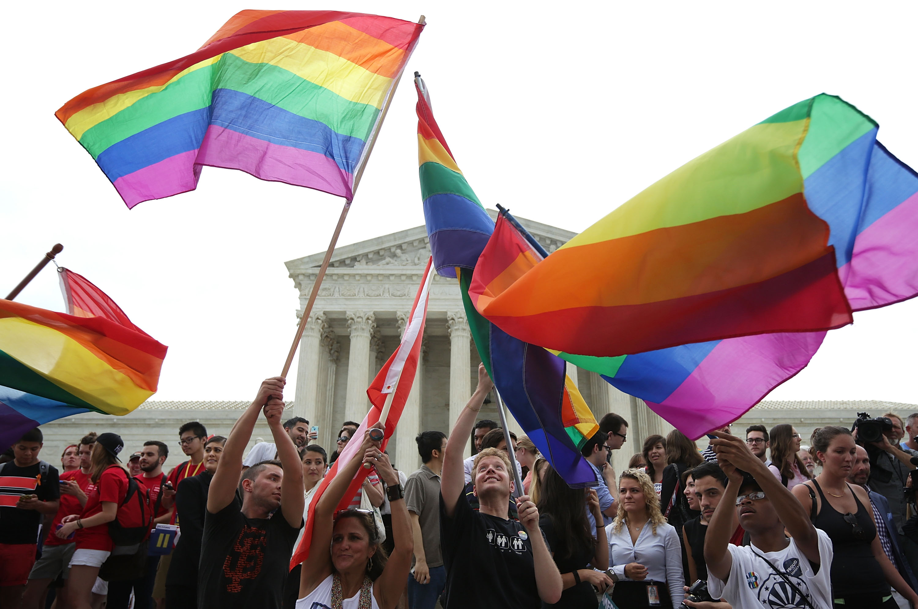 Same-sex-marriage supporters rejoice after the U.S Supreme Court hands down a ruling regarding same-sex marriage in Washington on June 26, 2015