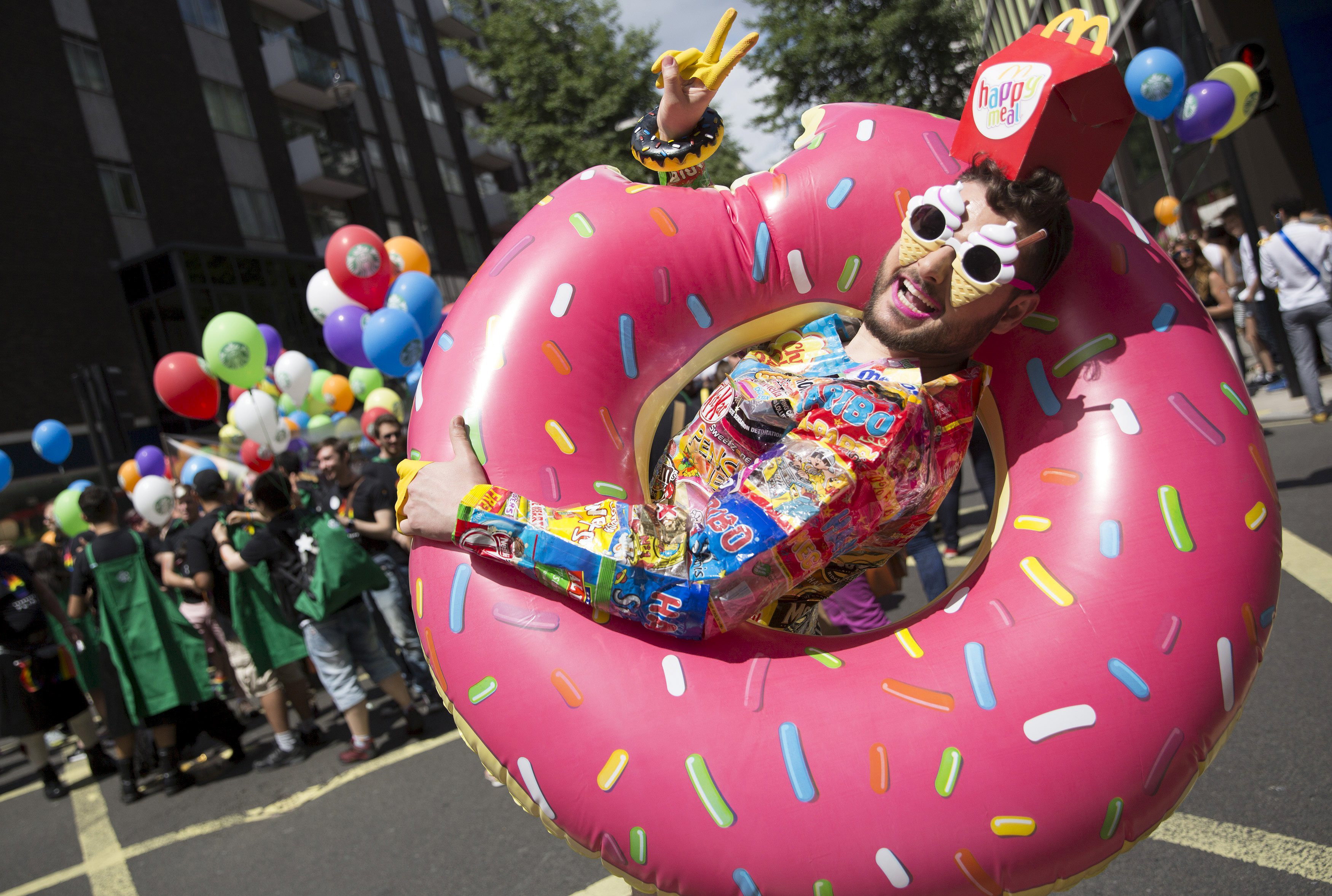 A participant takes part in the annual Pride in London Parade on June 27, 2015 in London.