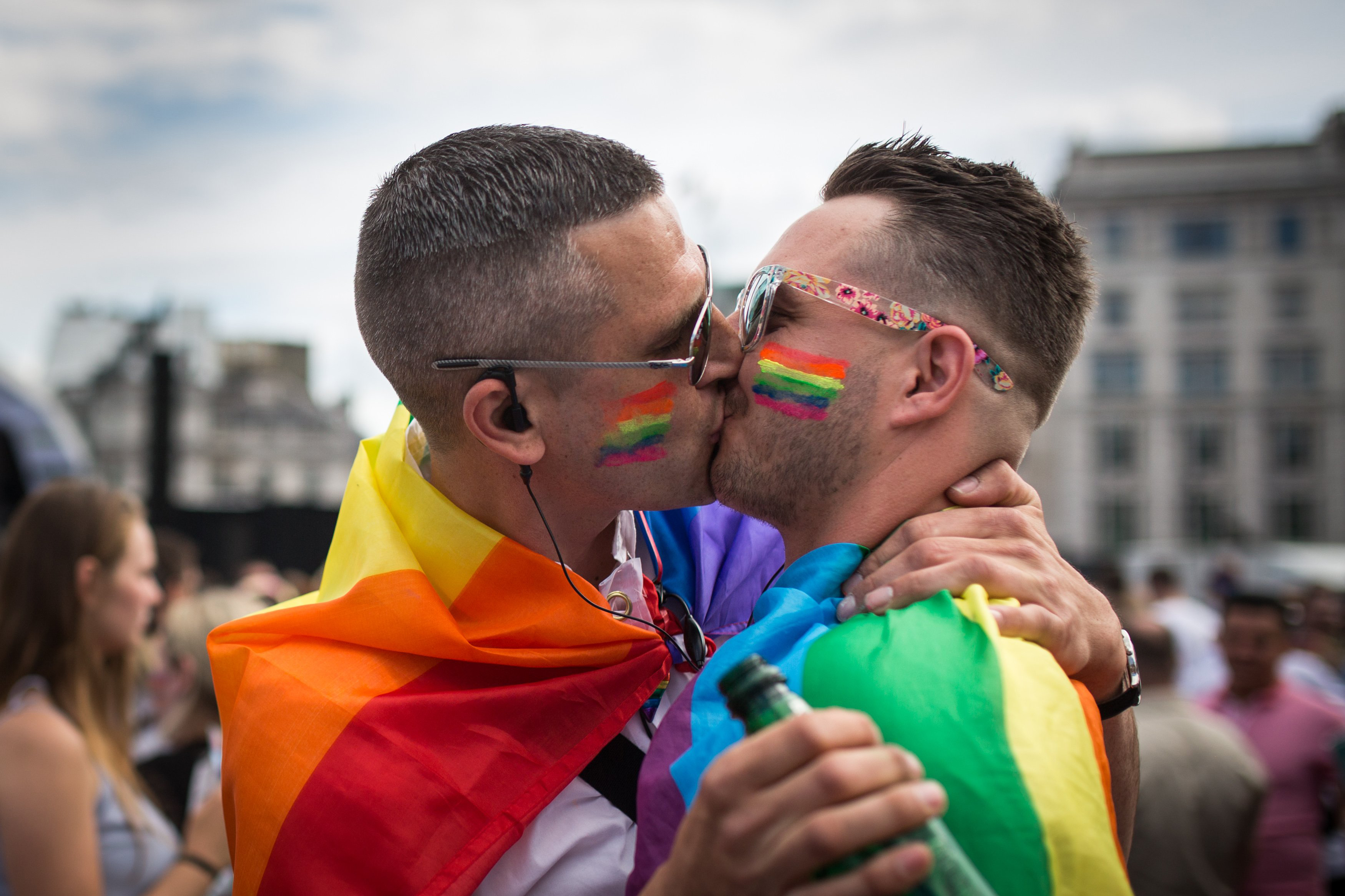 A couple kiss in Trafalgar Square after the annual Pride in London Parade on June 27, 2015 in London.
