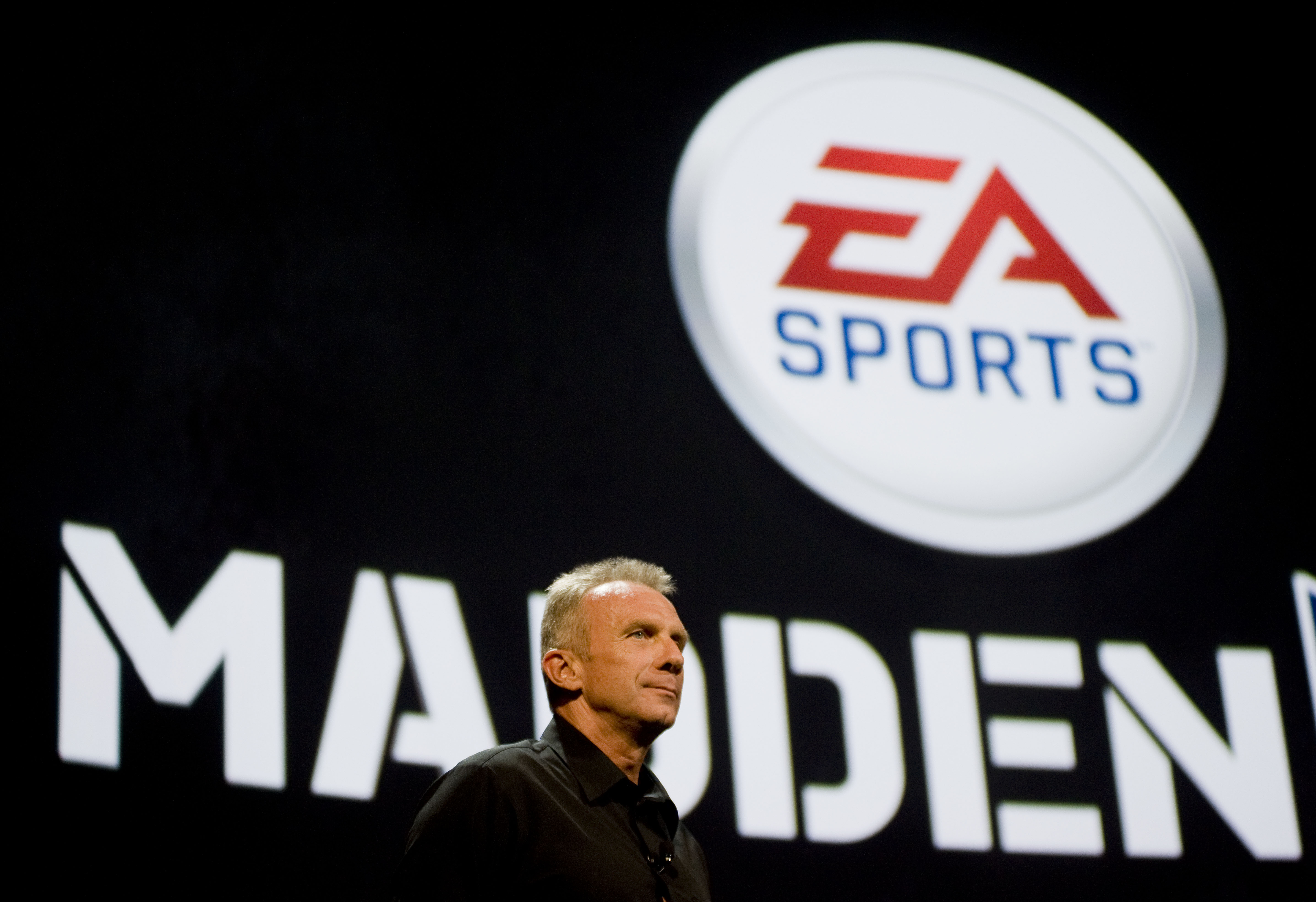 Former NFL quarterback Joe Montana helps introduce Electronic Arts Sports (EA Sports) new  Madden 2011  game at an EA press briefing ahead of the Electronic Entertainment Expo (E3) at the Orpheum Theater June 14, 2010 in Los Angeles, California.