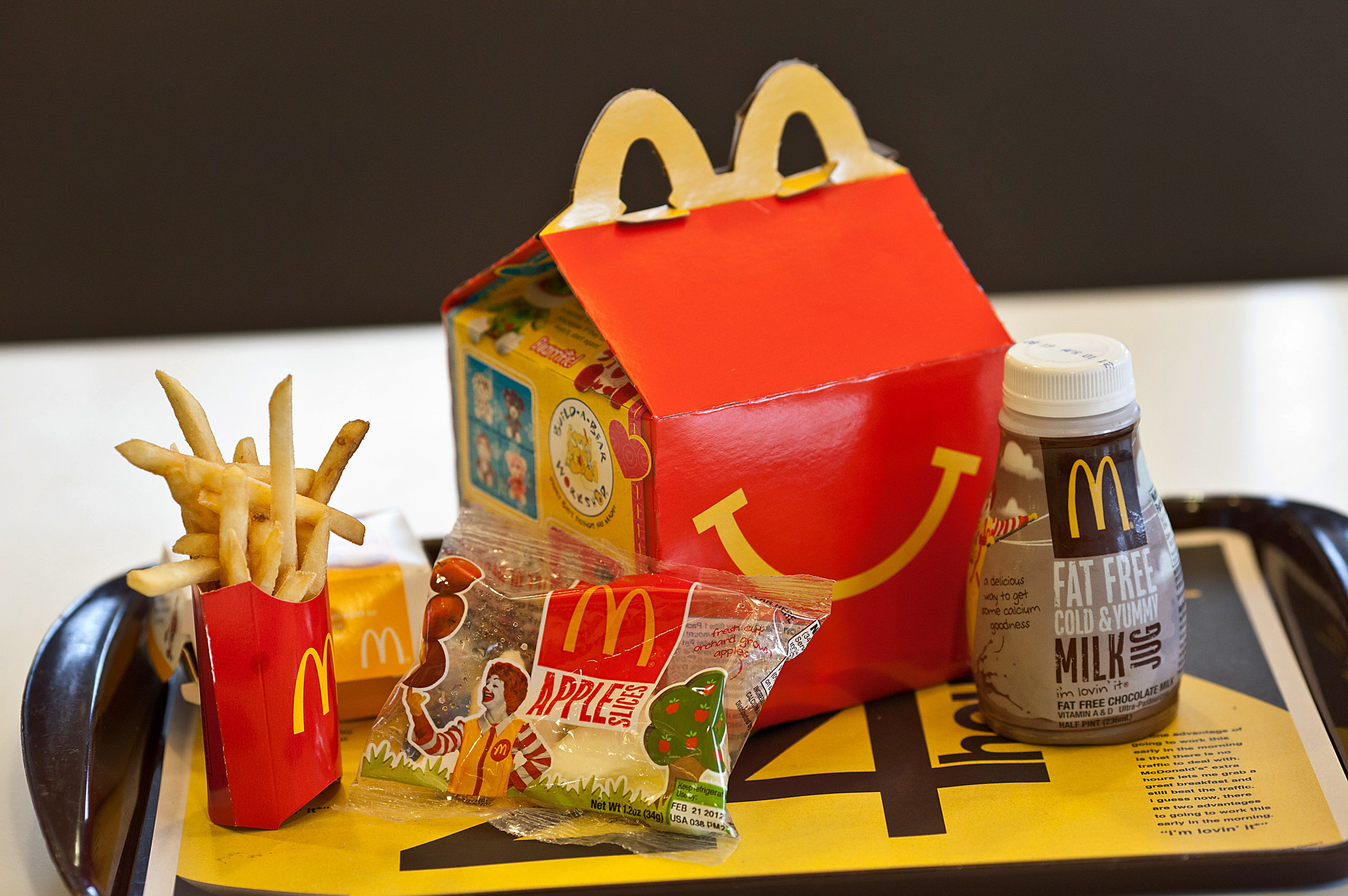 A Happy Meal is displayed for a photograph on a tray at a McDonald's Corp. restaurant in Little Falls, New Jersey, U.S., on Wednesday, Feb. 15, 2012.