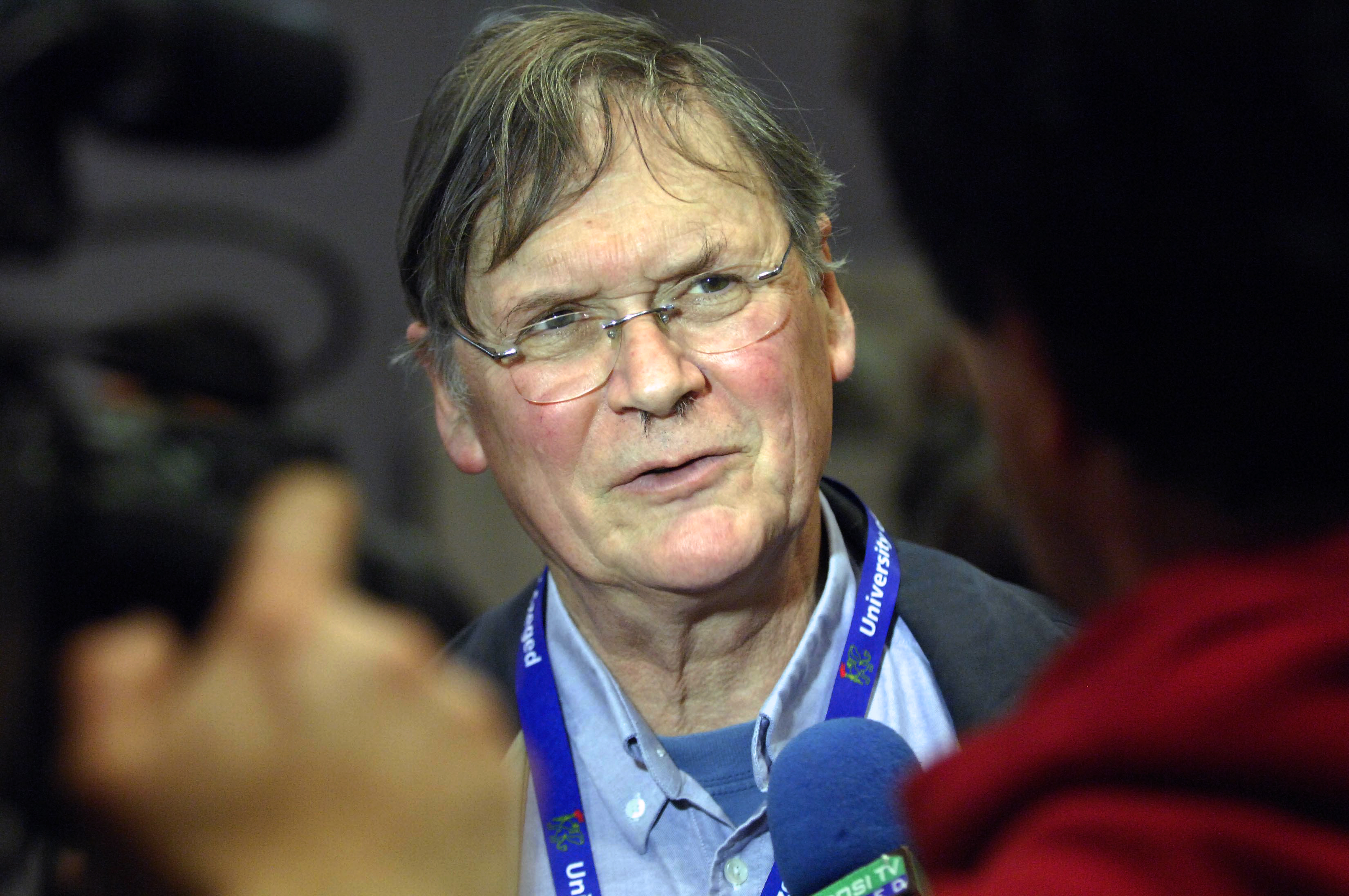 English biochemist, the Nobel-prize winner Sir Richard Timothy 'Tim' Hunt meets with the press at the Jozsef Attila Study and Information Centre of Szeged Sciences University in Szegede on March 22, 2012