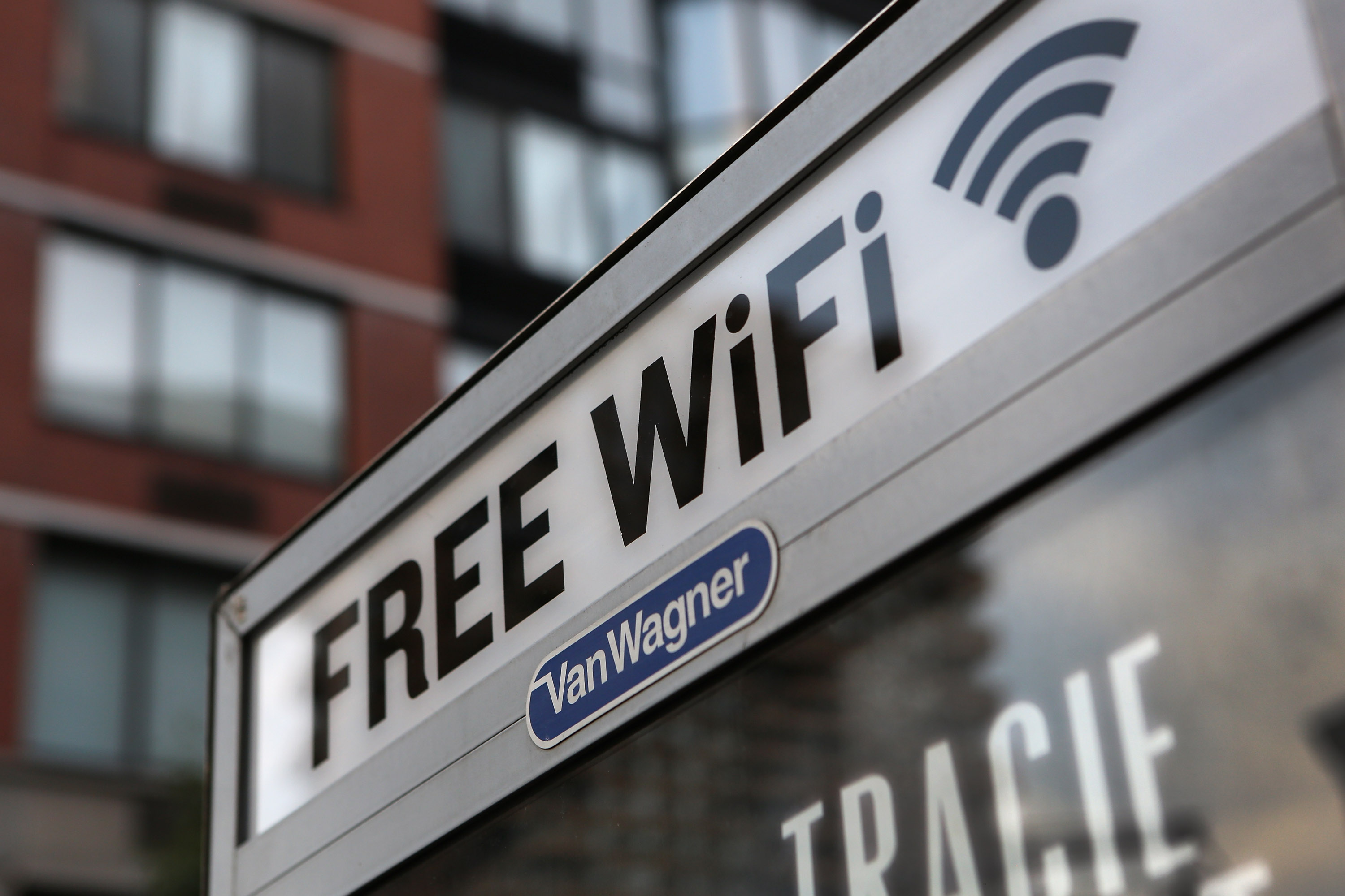 A free Wi-Fi hotspot beams broadband internet from atop a public phone booth on July 11, 2012 in Manhattan, New York City.