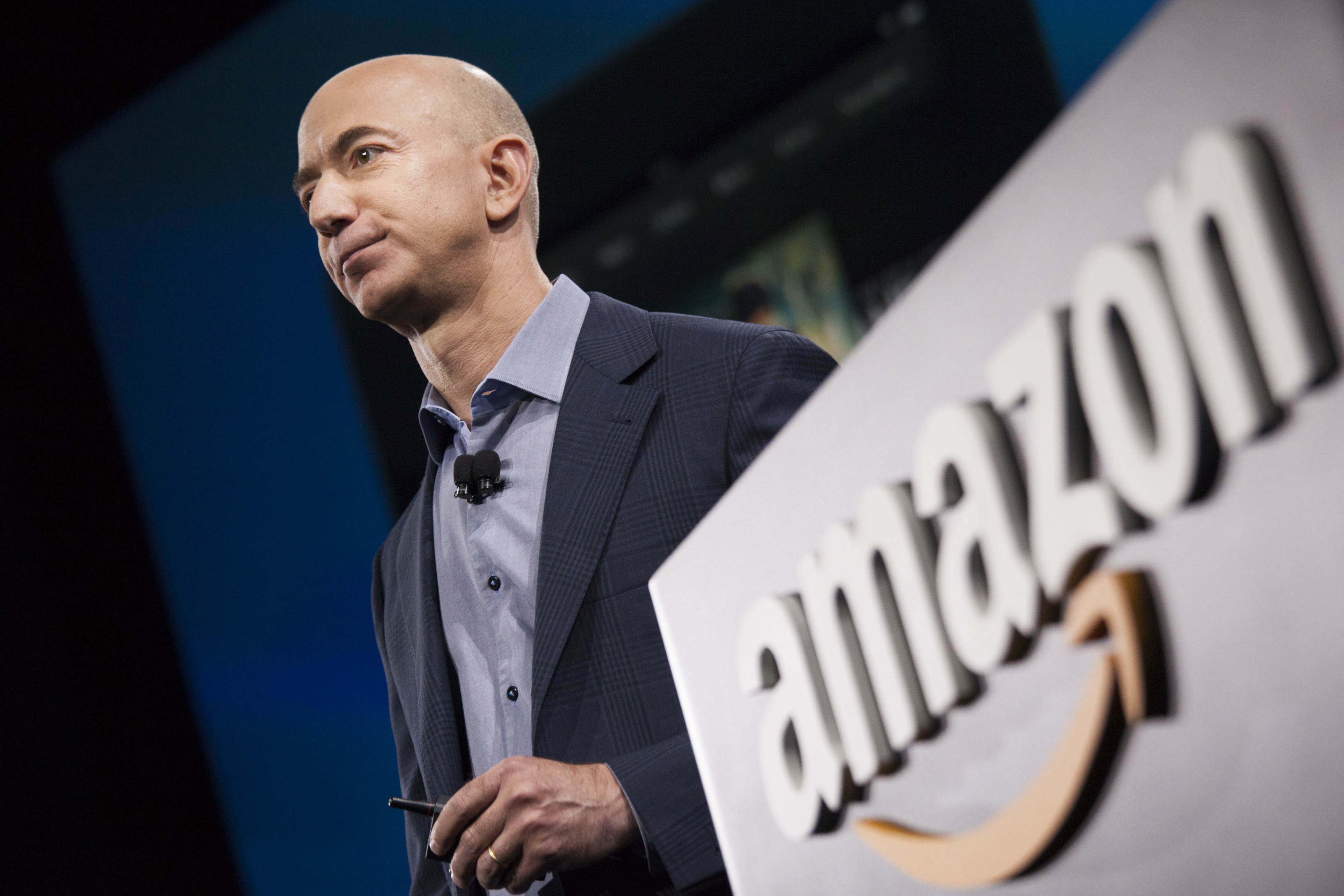 Amazon.com founder and CEO Jeff Bezos presents the company's first smartphone, the Fire Phone, in Seattle, on June 18, 2014.