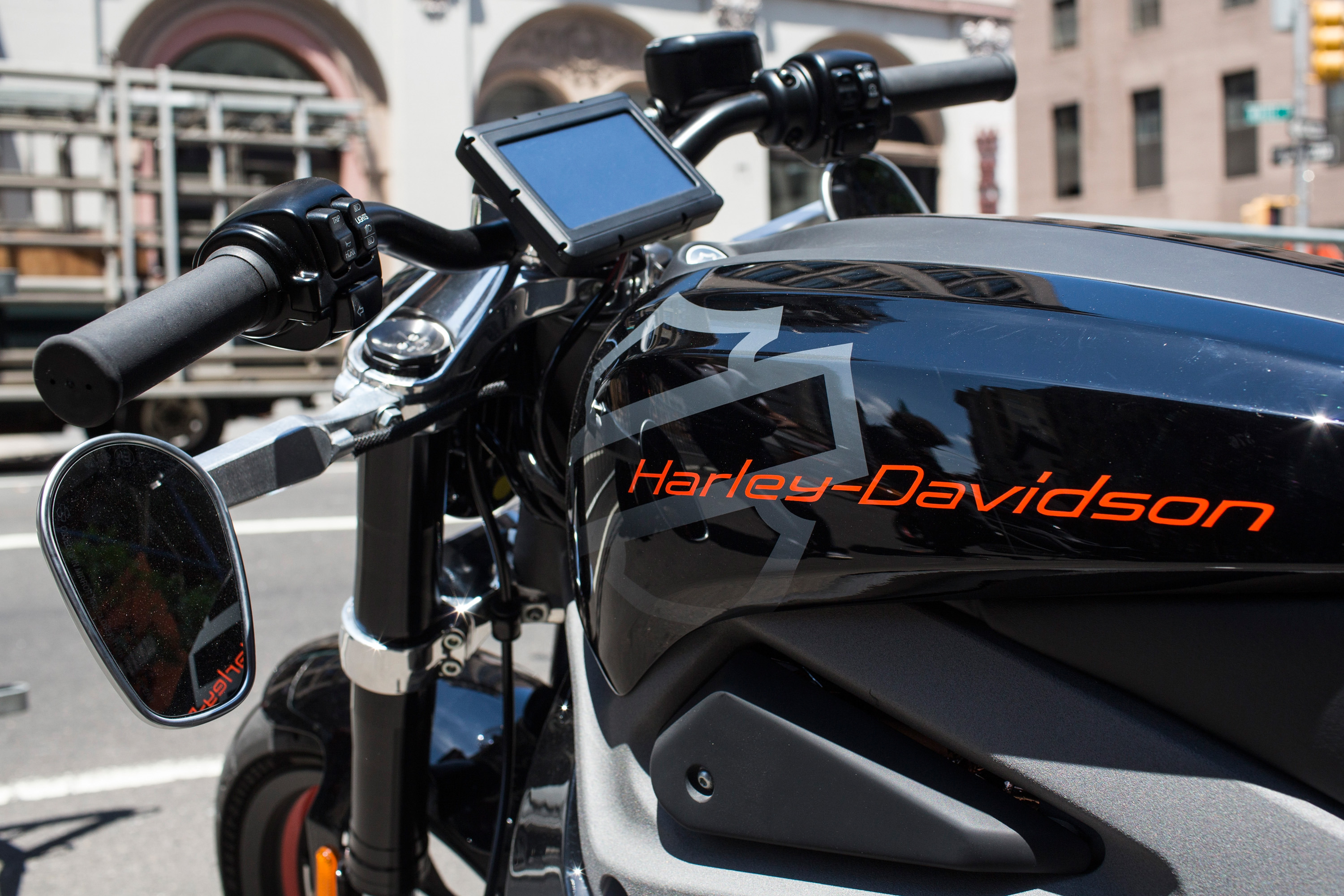 A Harley Davidson Livewire motorcycle, Harley Davidson's first electric bike, sits on display outside the Harley Davidson Store on June 23, 2014 in New York City.