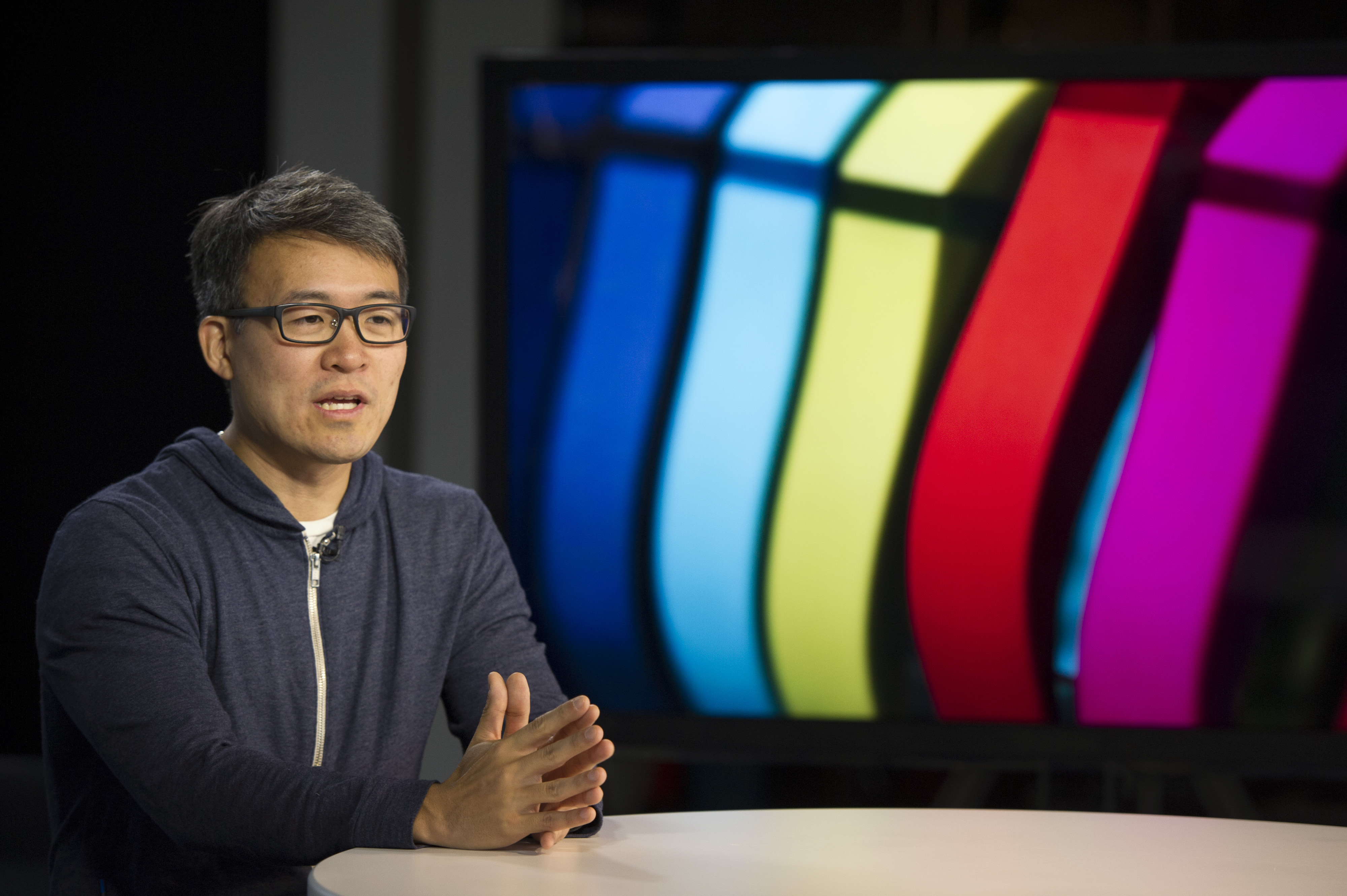 James Park, co-founder and chief executive officer of Fitbit Inc., speaks during a Bloomberg Television interview in San Francisco, California, U.S., on Friday, Aug. 22, 2014.