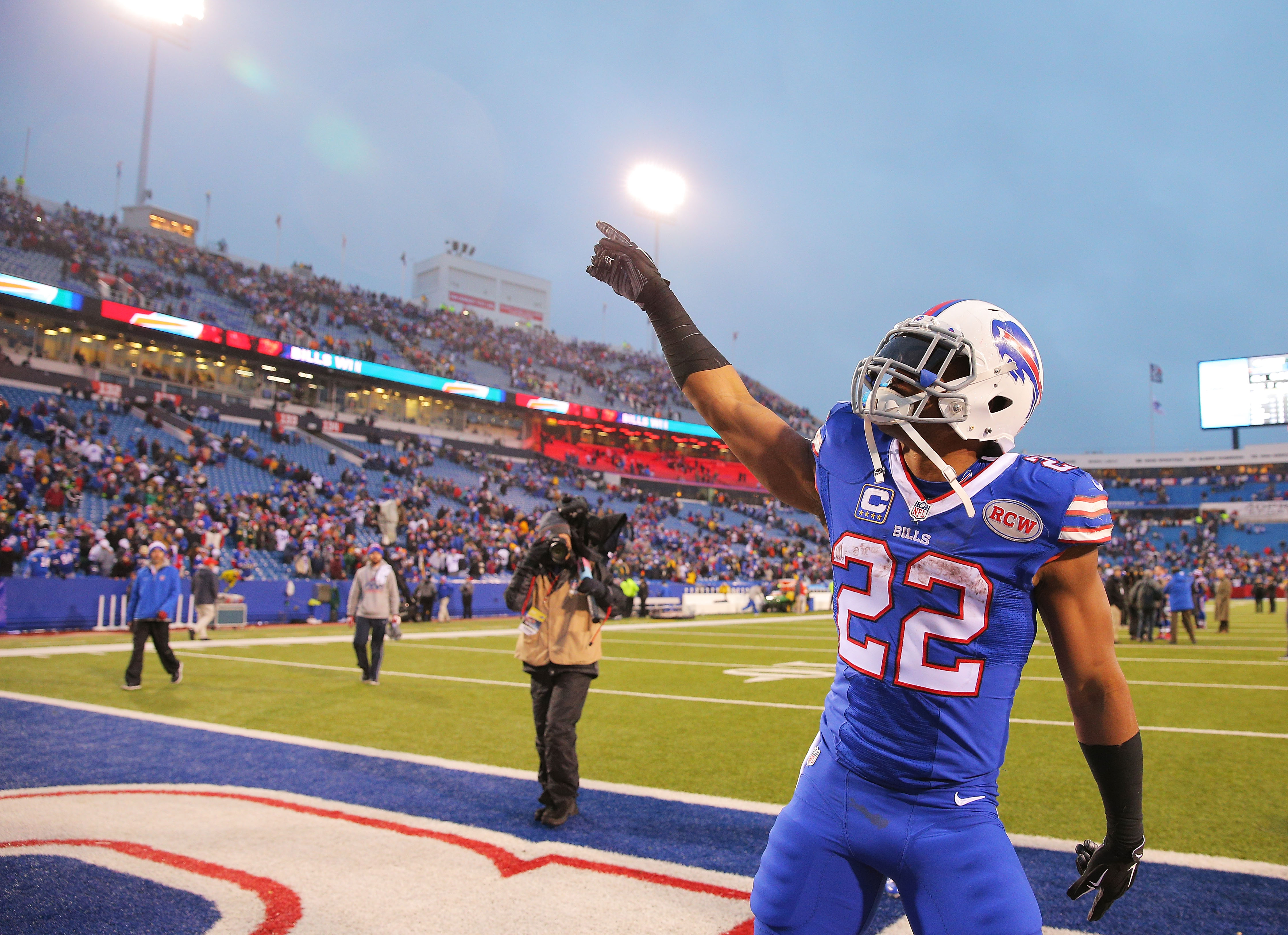 Fred Jackson #22 of the Buffalo Bills celebrates after beating the Green Bay Packers at Ralph Wilson Stadium on December 14, 2014 in Orchard Park, New York.