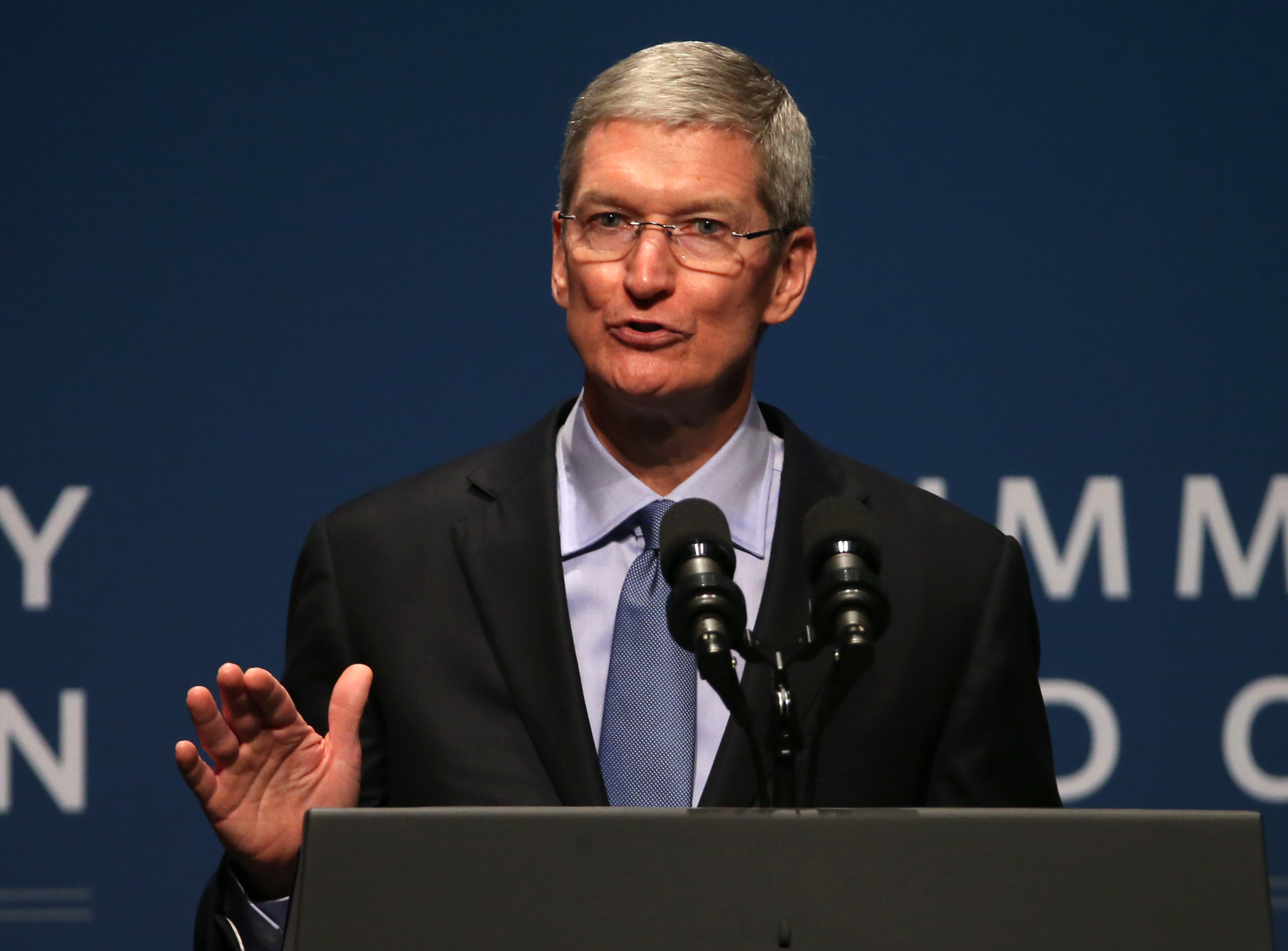 Apple CEO Tim Cook speaks during the White House Summit on Cybersecurity and Consumer Protection on February 13, 2015 in Stanford, California.