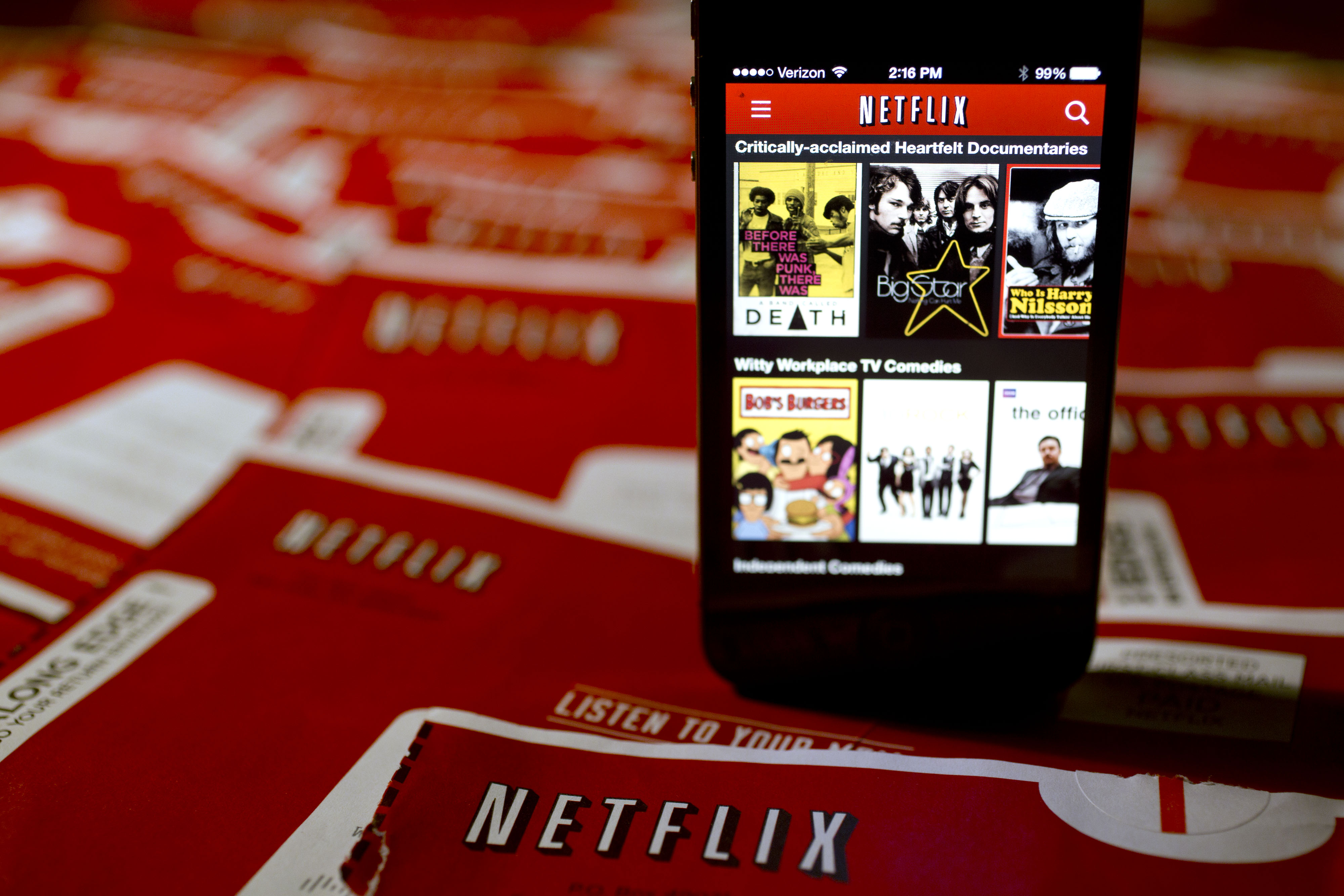 The Netflix Inc. application is displayed on an Apple Inc. iPhone arranged for a photograph in Washington, D.C., U.S., on Tuesday, Jan. 21, 2014.
