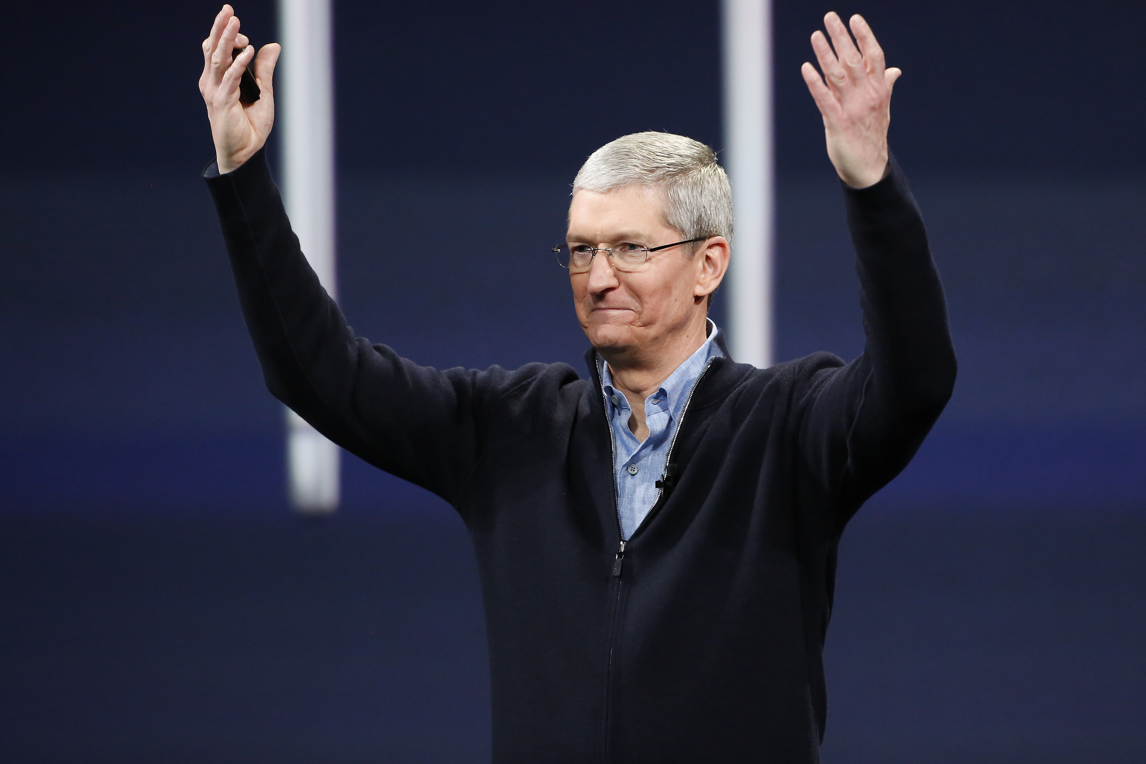 Apple CEO Tim Cook gestures on stage during an Apple special event at the Yerba Buena Center for the Arts on March 9, 2015 in San Francisco, California.