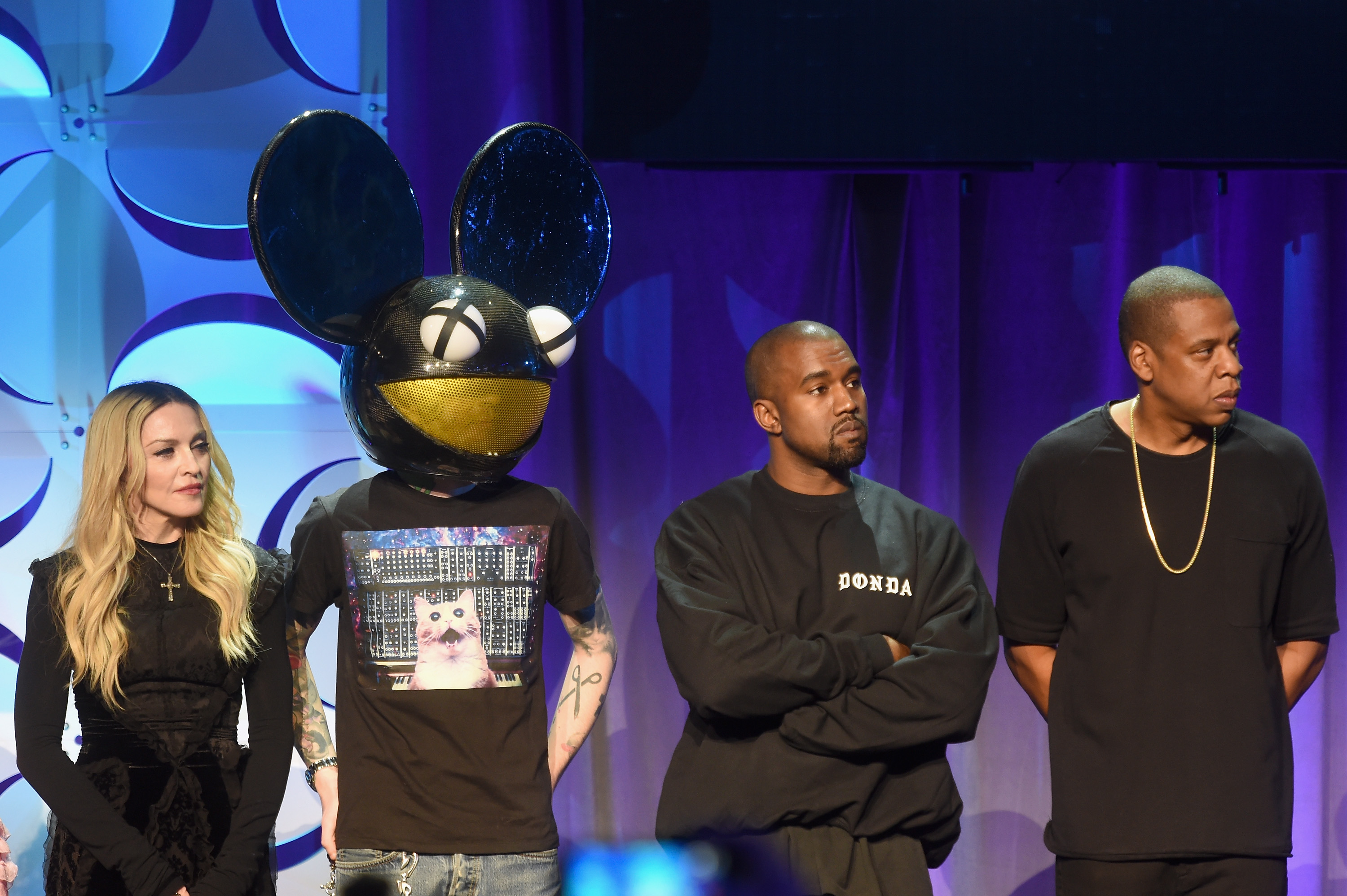 Madonna, Deadmau5, Kanye West, and JAY Z onstage at the Tidal launch event #TIDALforALL at Skylight at Moynihan Station on March 30, 2015 in New York City.