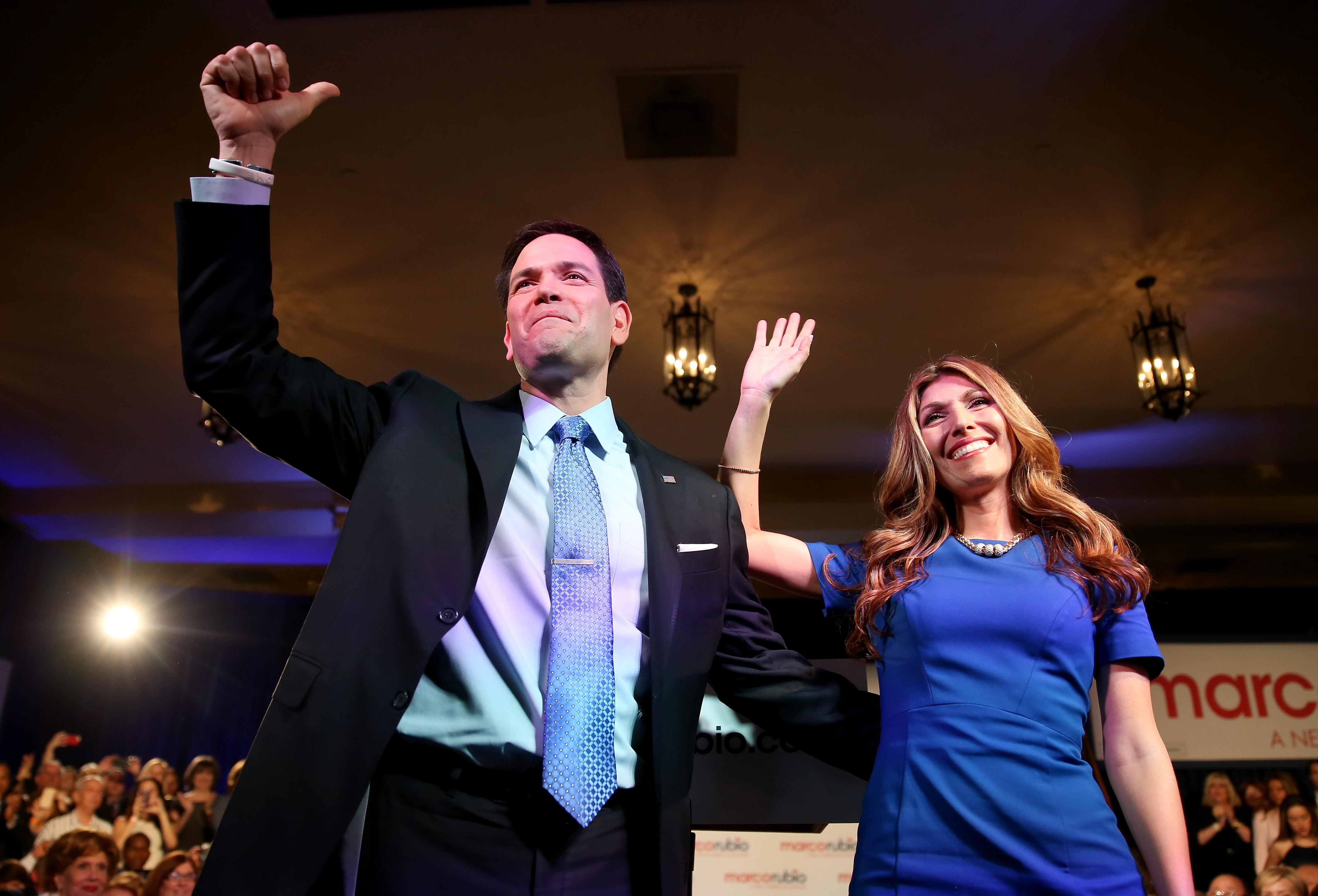 Marco Rubio and Jeanette Rubio on April 13, 2015 in Miami, Florida.