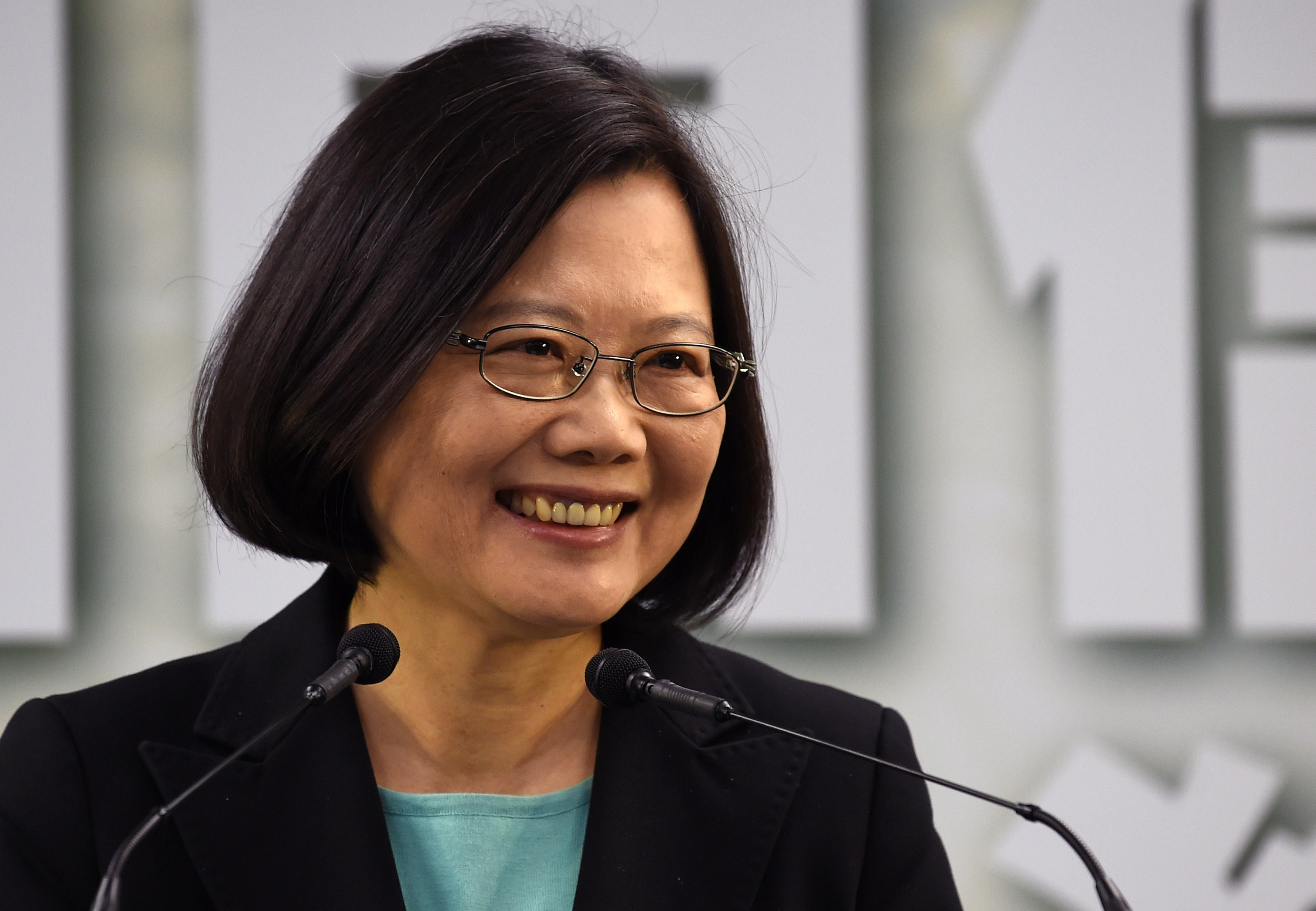 Tsai Ing-wen, chairwoman of Taiwan's main opposition Democratic Progressive Party (DPP), smiles during a press conference in Taipei on April 15, 2015. The DPP announced on April 15 that Tsai will run for president in 2016 in the hope of becoming the island's first ever woman leader.