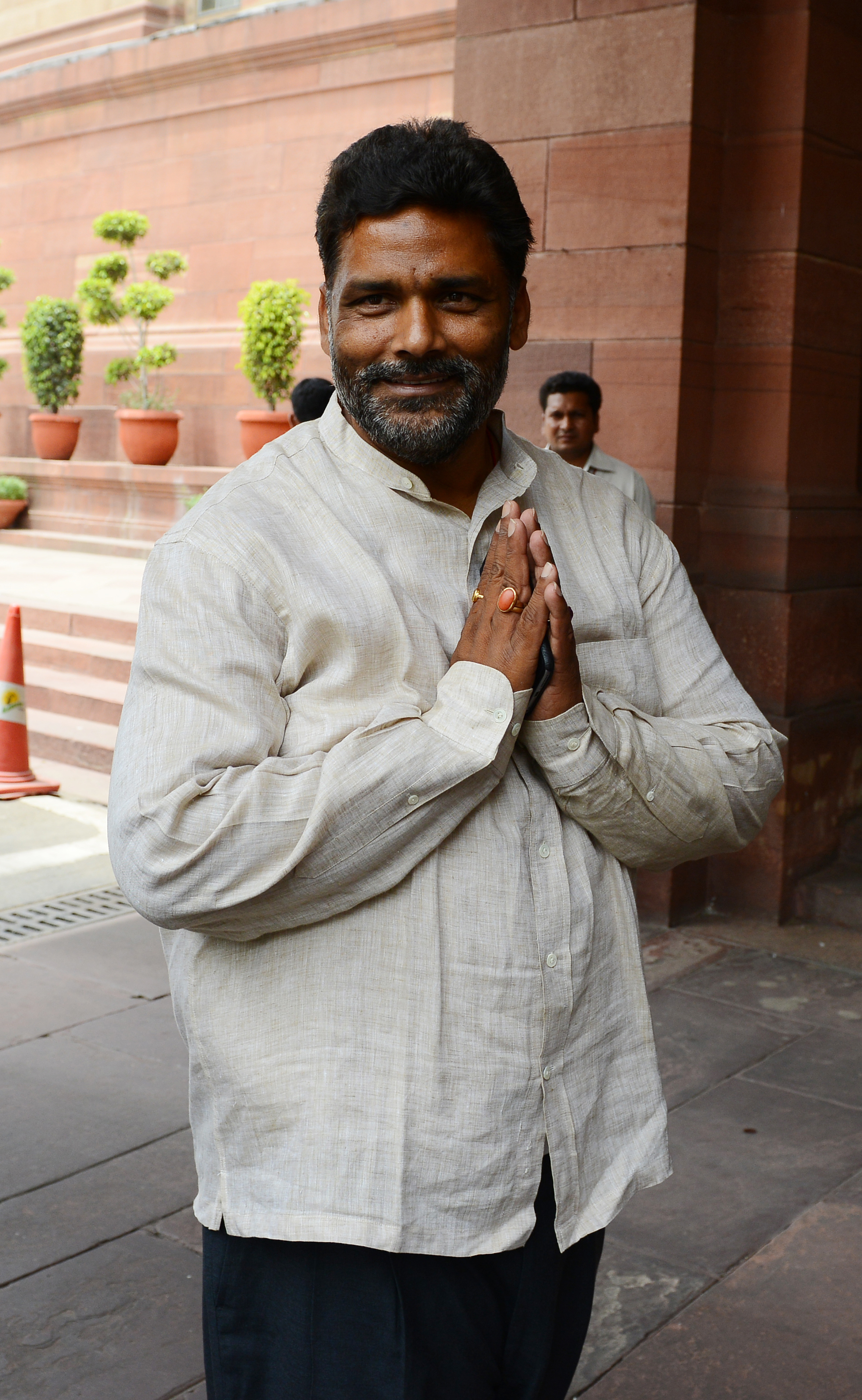 MP Pappu Yadav during the budget session at Parliament House in New Delhi.