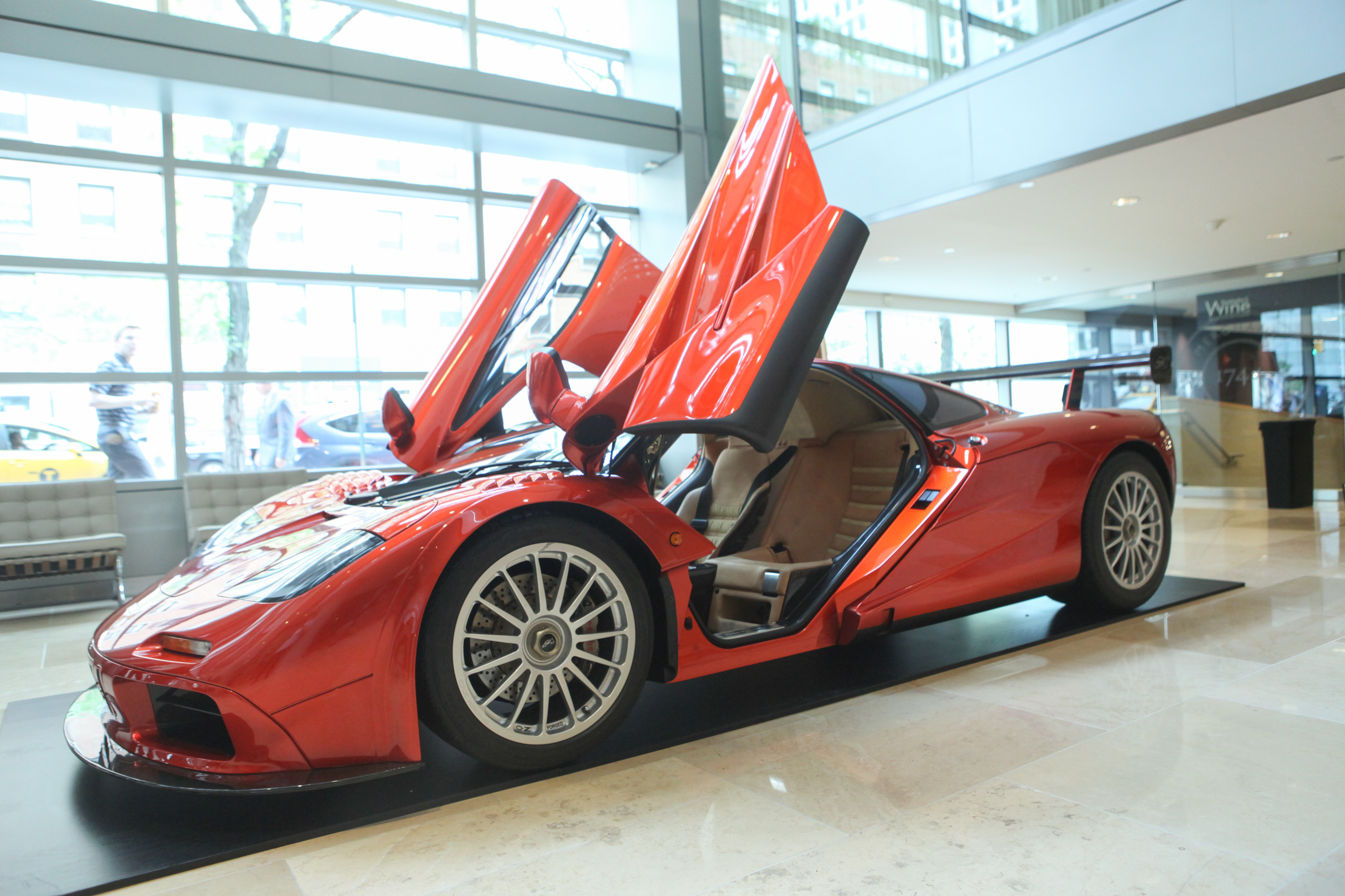 General view of the 1998 McLaren F1  LM-Specification supercar during McLaren's F1 New York media preview at Sotheby's on June 3, 2015 in New York City.