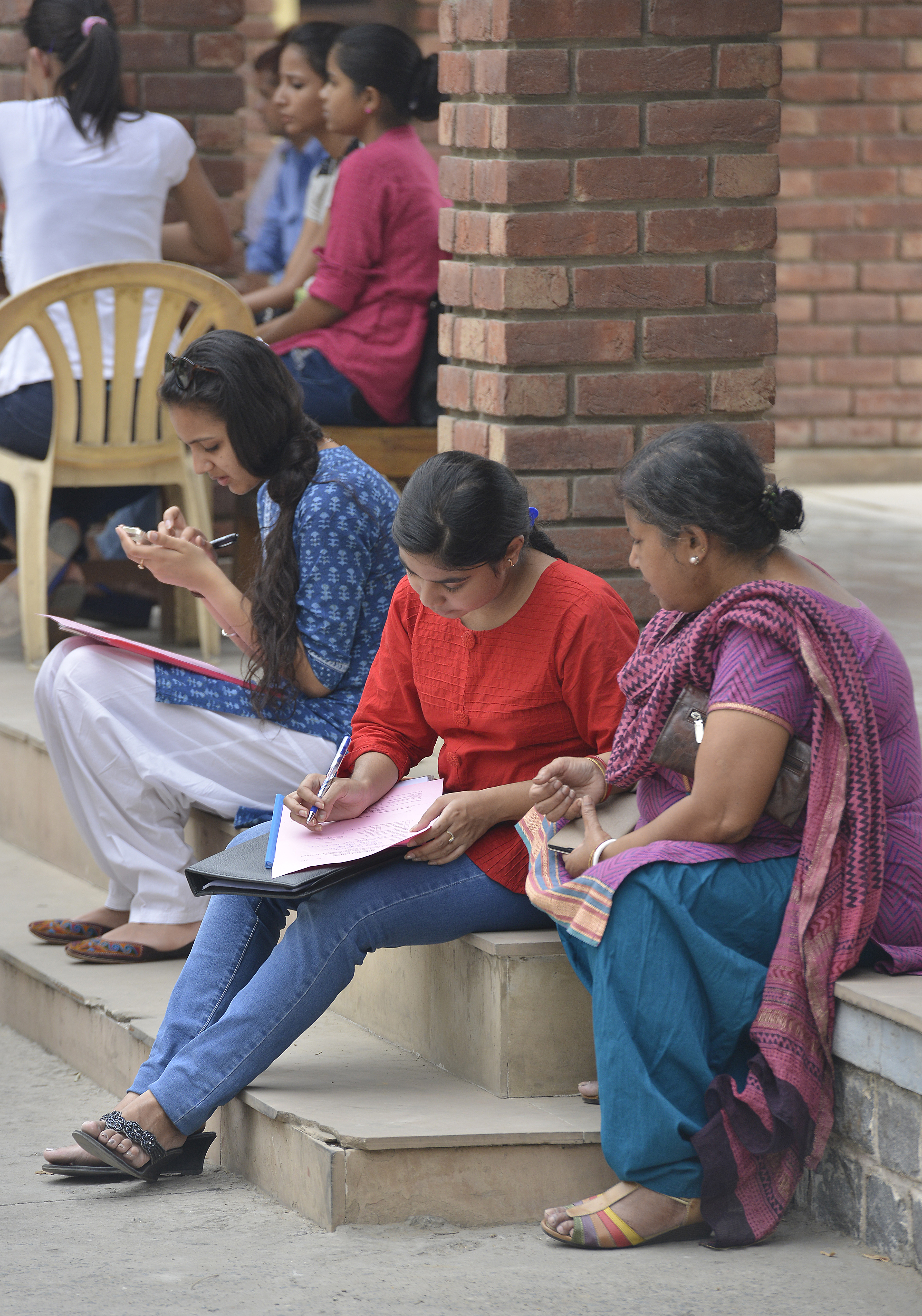 Students arriving at the Delhi University to fill their admission form on June 9, 2015