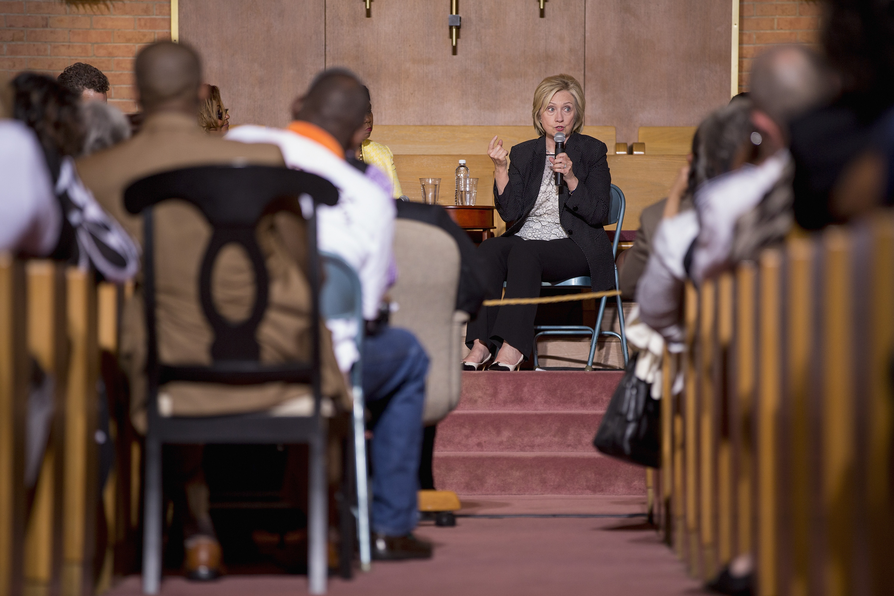 Democratic presidential candidate and former U.S. Secretary of State Hillary Clinton speaks to supporters on June 23, 2015 at Christ the King United Church of Christ in Florissant, Missouri.