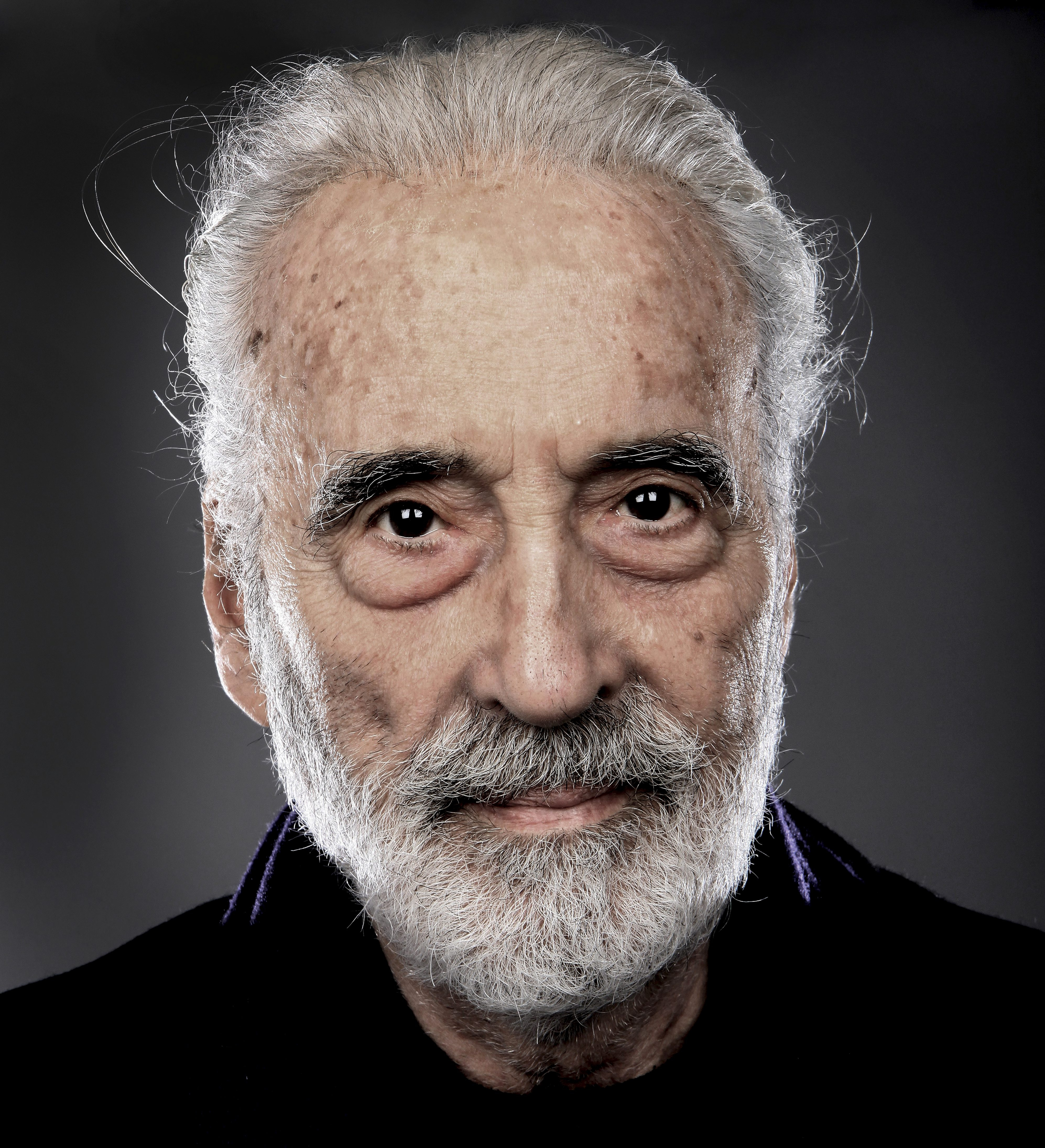 Christopher Lee, portrait, backstage at the Golden Gods  Awards at the O2 in London on June 15th 2014. (Photo by Mick Hutson/Redferns)