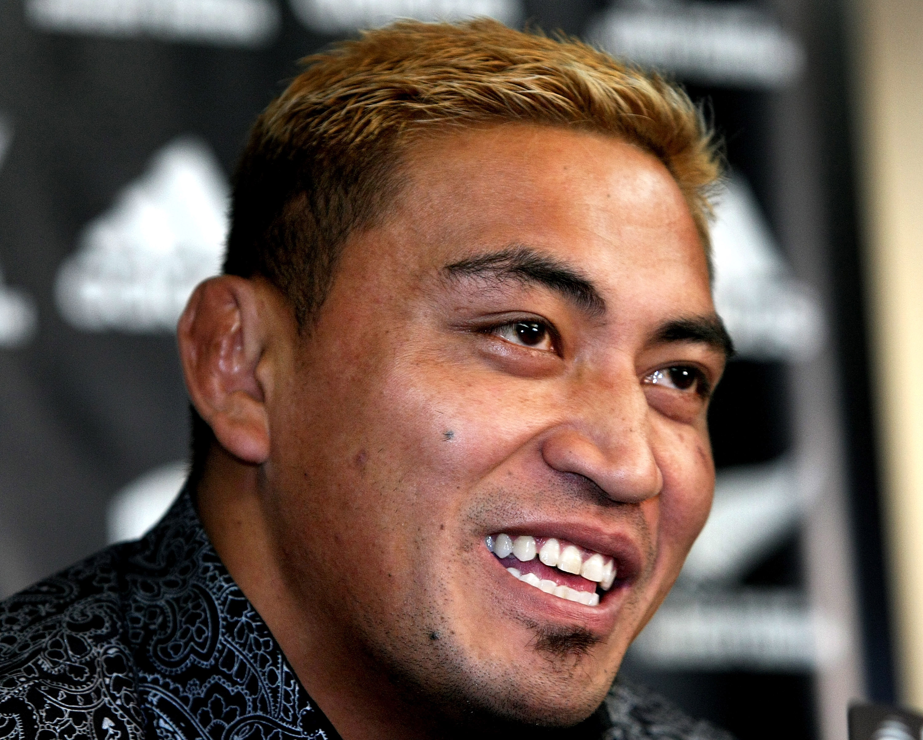 Jerry Collins of the Hurricanes and the New Zealand All Blacks addresses the media during a press conference at the New Zealand Rugby Union headquarters on May 26, 2008 in Wellington, New Zealand.