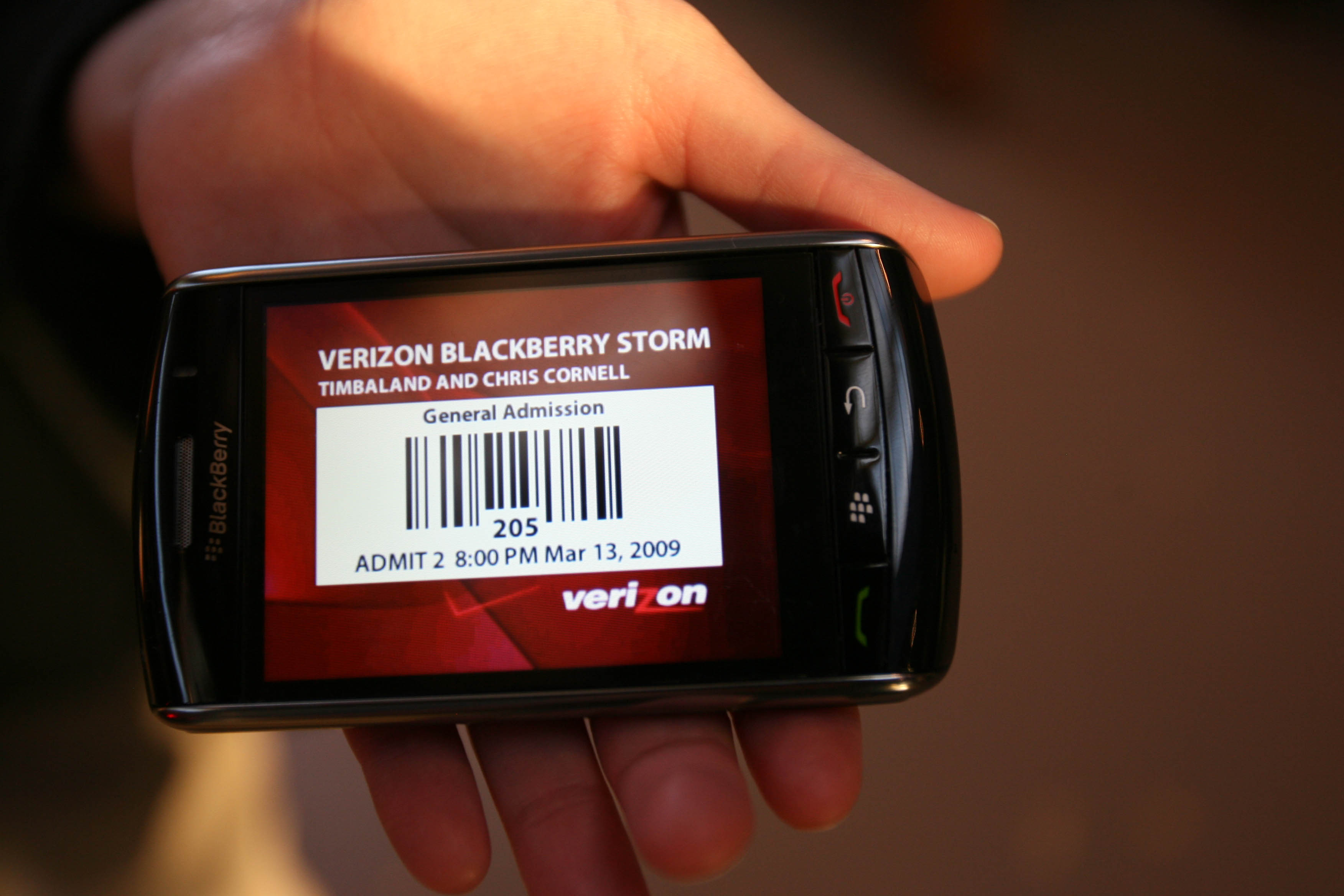 A Verizon Blackberry Storm mobile ticket appears on a a mobile device at a Verizon Wireless and Blackberry Storm event on March 13, 2009 in Chicago, Illinois.
