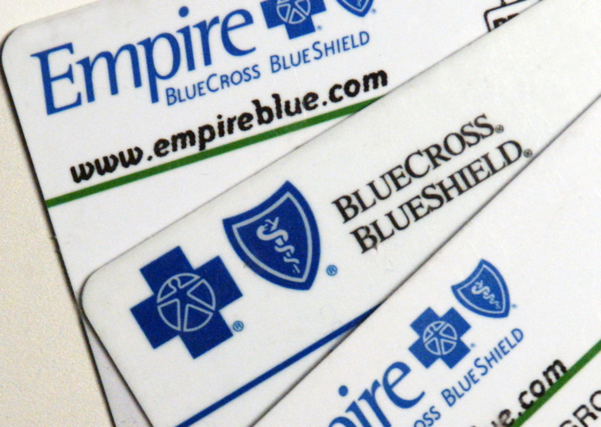 Empire Blue Cross Blue Shield health benefits cards are arranged for a photograph Tuesday, September 27, 2005.